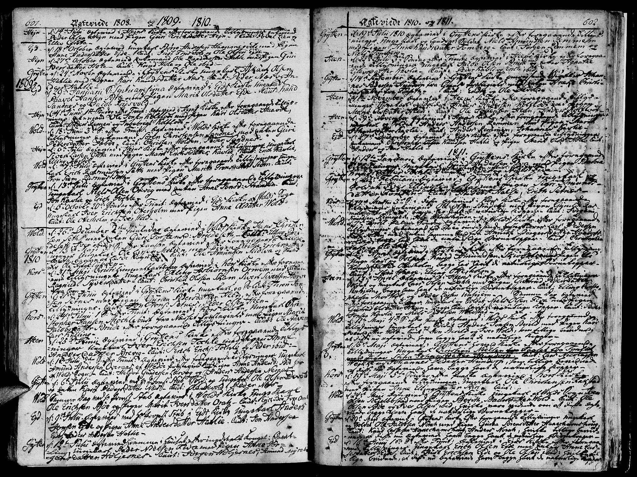 SAT, Ministerialprotokoller, klokkerbøker og fødselsregistre - Møre og Romsdal, 544/L0570: Ministerialbok nr. 544A03, 1807-1817, s. 601-602