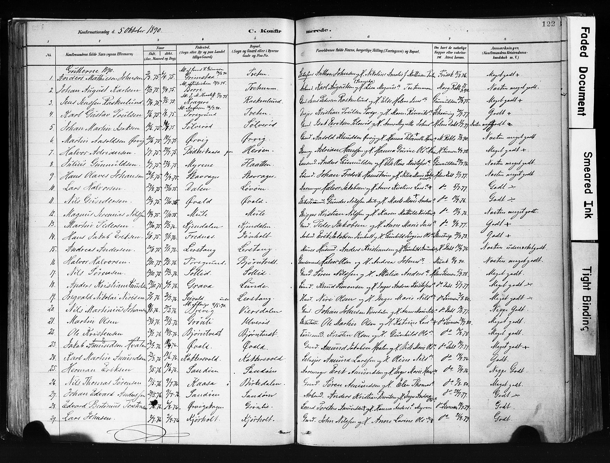 SAKO, Eidanger kirkebøker, F/Fa/L0012: Ministerialbok nr. 12, 1879-1900, s. 122