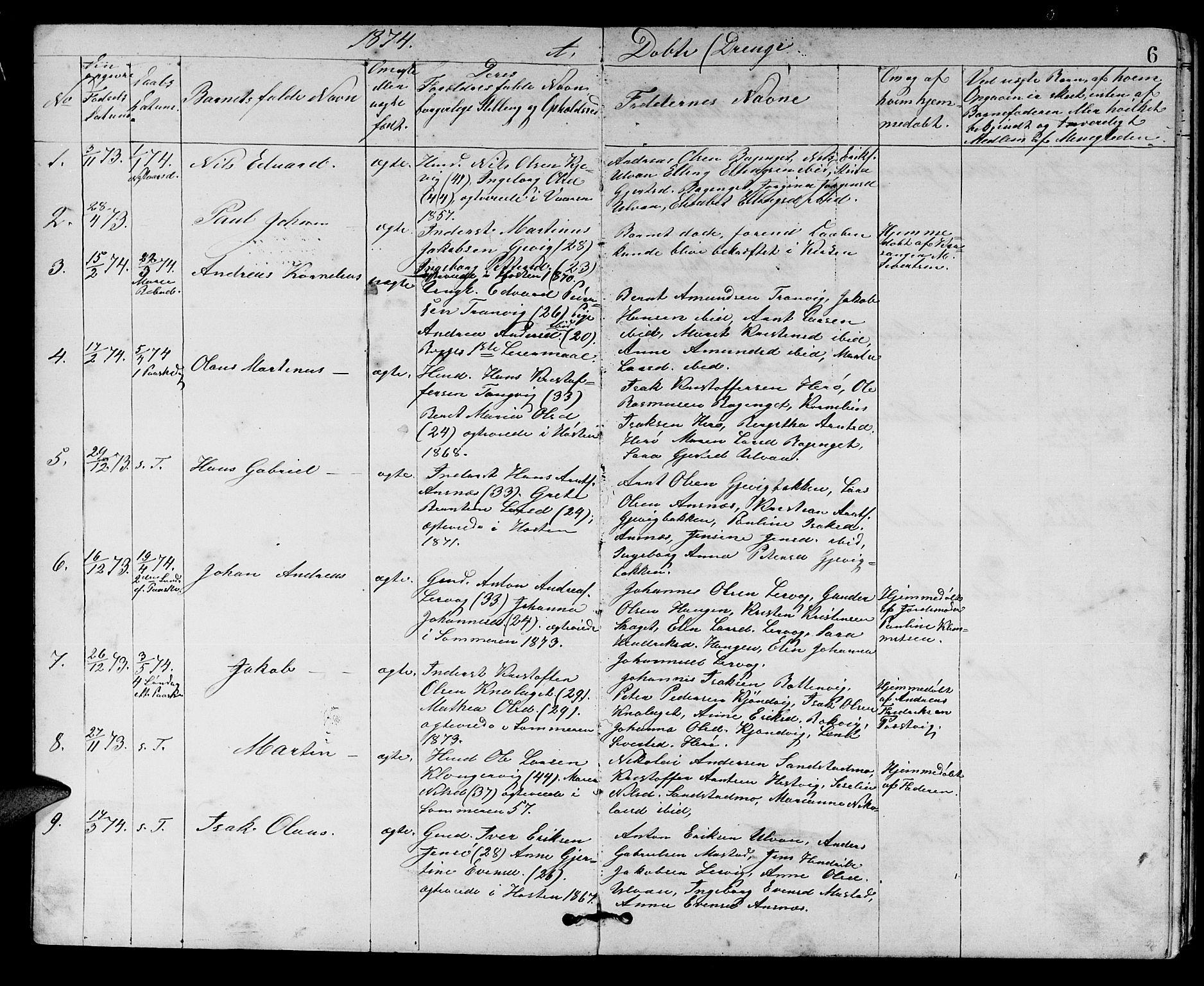 SAT, Ministerialprotokoller, klokkerbøker og fødselsregistre - Sør-Trøndelag, 637/L0561: Klokkerbok nr. 637C02, 1873-1882, s. 6