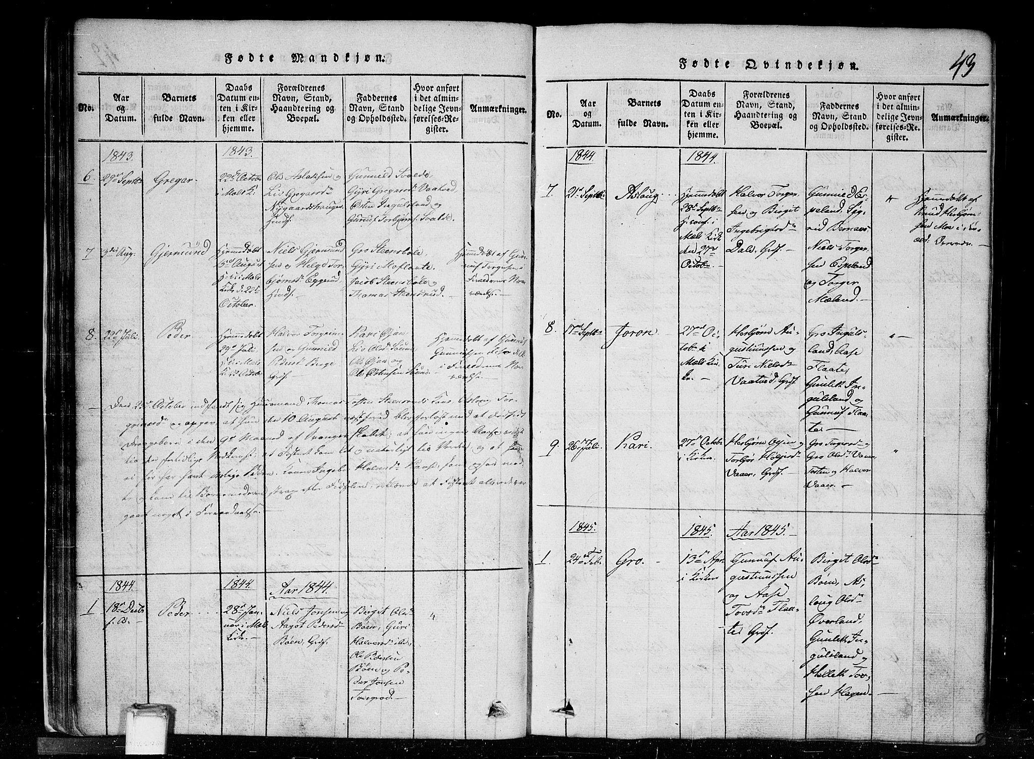SAKO, Tinn kirkebøker, G/Gc/L0001: Klokkerbok nr. III 1, 1815-1879, s. 43