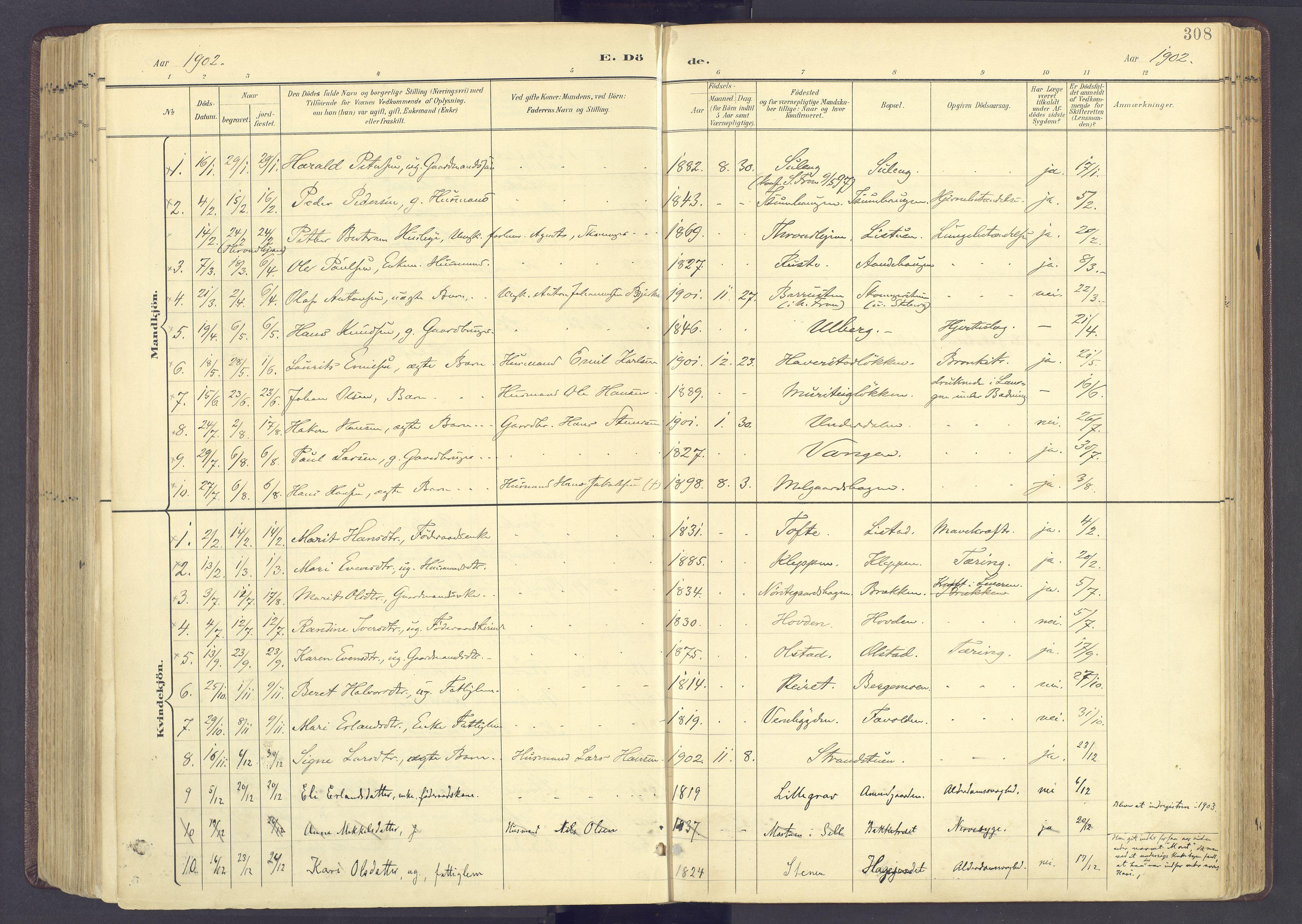 SAH, Sør-Fron prestekontor, H/Ha/Haa/L0004: Ministerialbok nr. 4, 1898-1919, s. 308