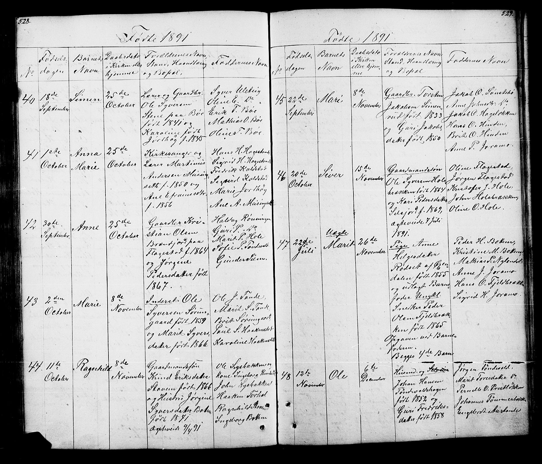 SAH, Lesja prestekontor, Klokkerbok nr. 5, 1850-1894, s. 528-529
