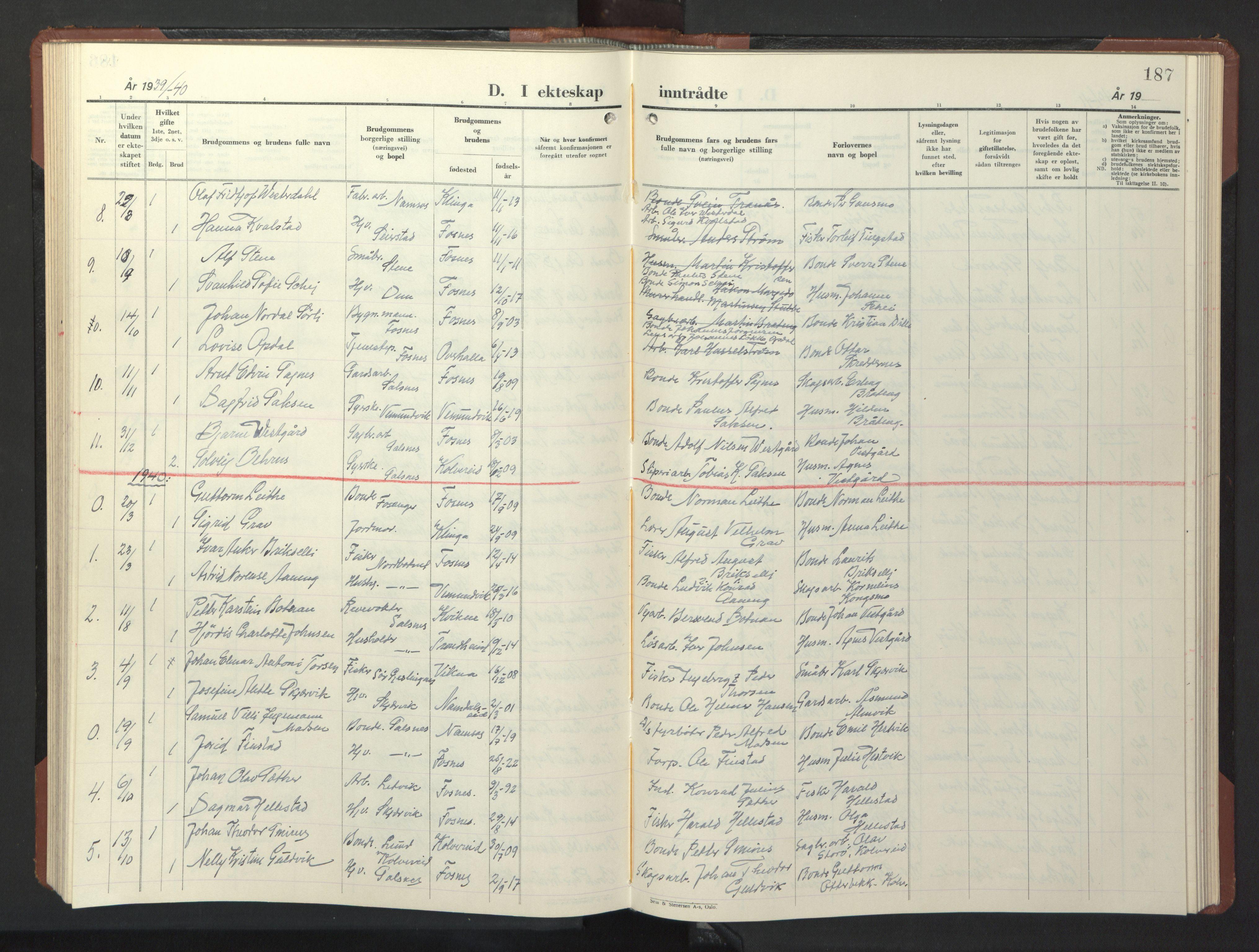 SAT, Ministerialprotokoller, klokkerbøker og fødselsregistre - Nord-Trøndelag, 773/L0625: Klokkerbok nr. 773C01, 1910-1952, s. 187