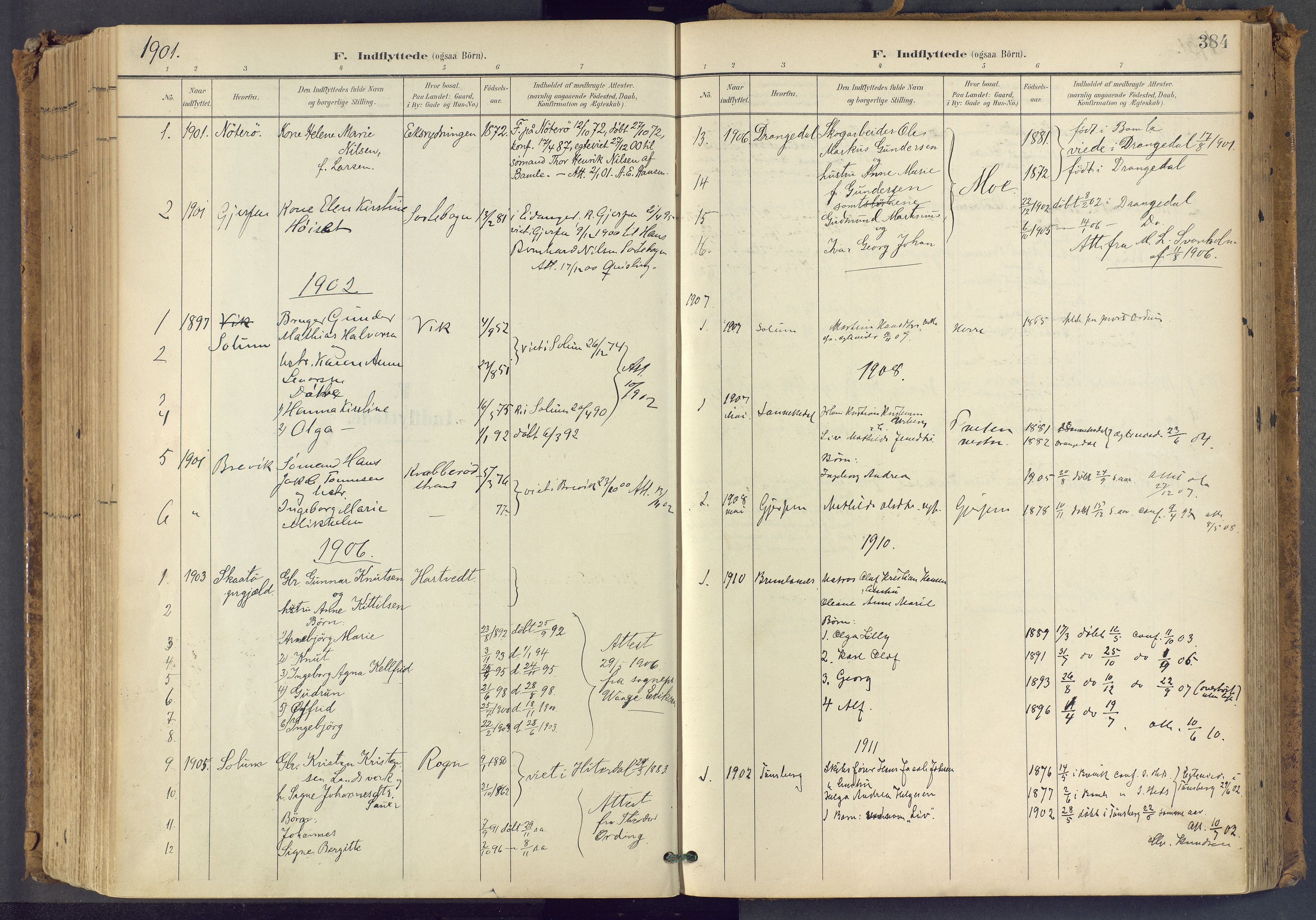 SAKO, Bamble kirkebøker, F/Fa/L0009: Ministerialbok nr. I 9, 1901-1917, s. 384