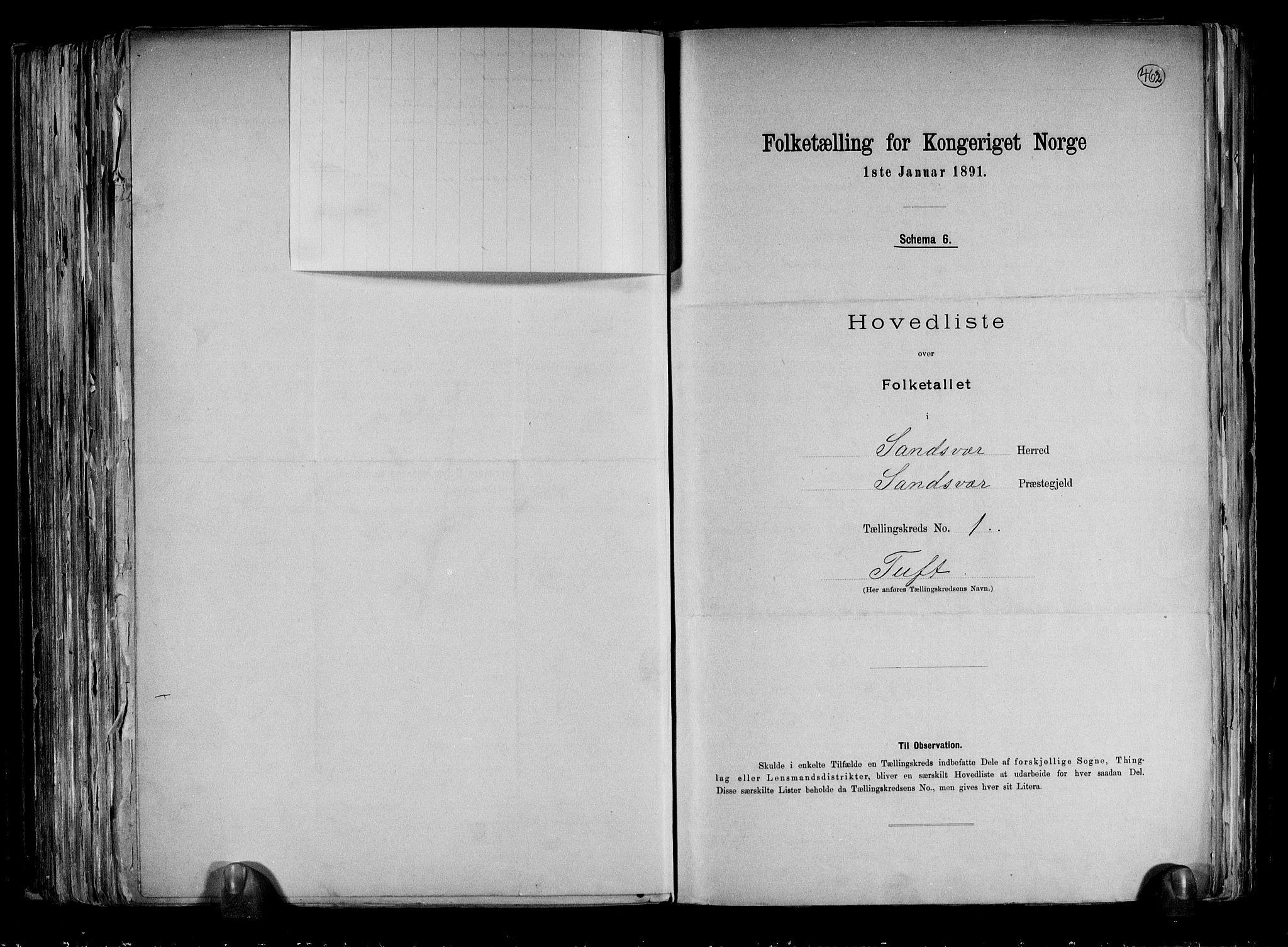 RA, Folketelling 1891 for 0629 Sandsvær herred, 1891, s. 5