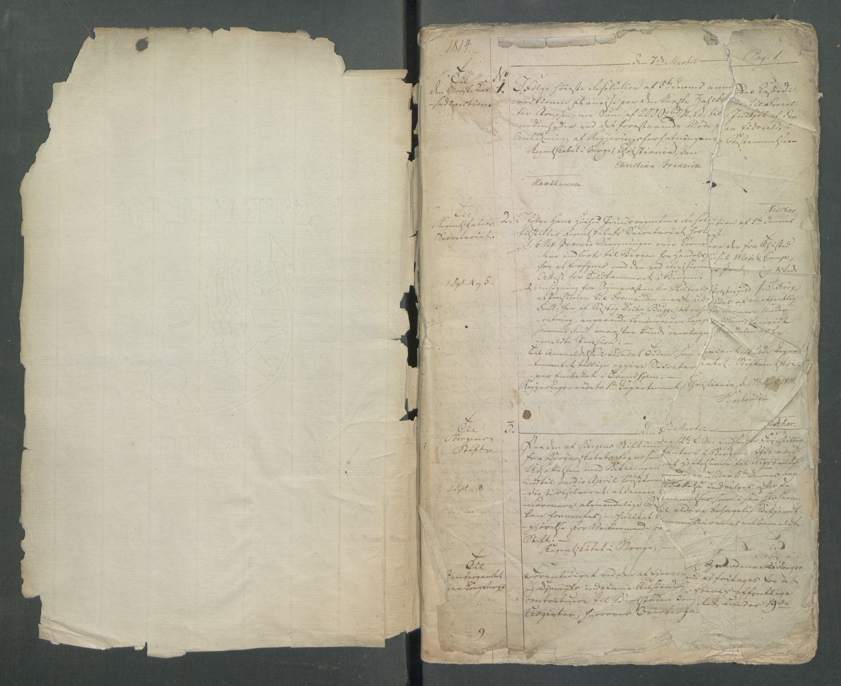 RA, Departementene i 1814, Fa/L0002: 1. byrå - Kopibok A 1-173, 1814, s. 1