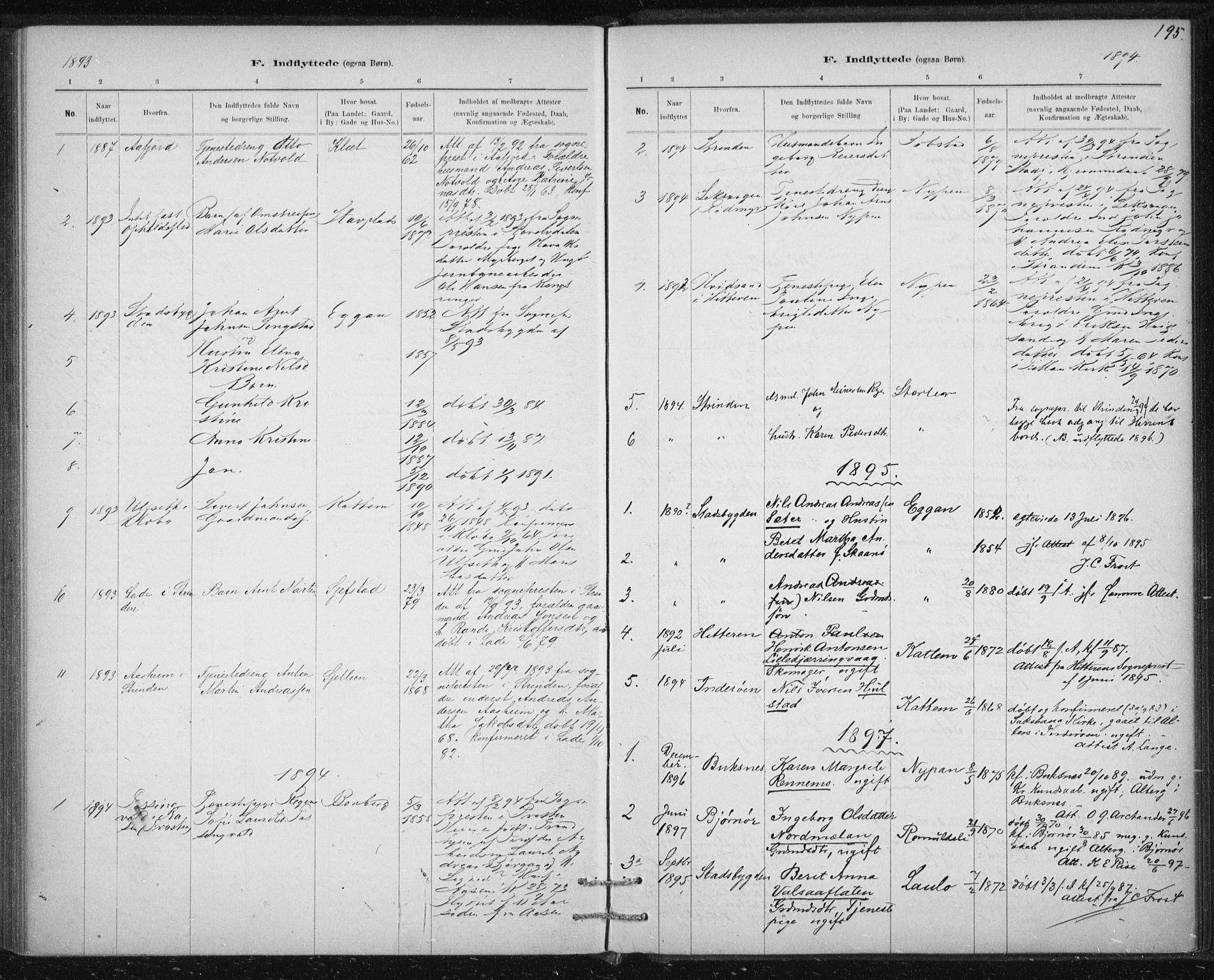 SAT, Ministerialprotokoller, klokkerbøker og fødselsregistre - Sør-Trøndelag, 613/L0392: Ministerialbok nr. 613A01, 1887-1906, s. 195