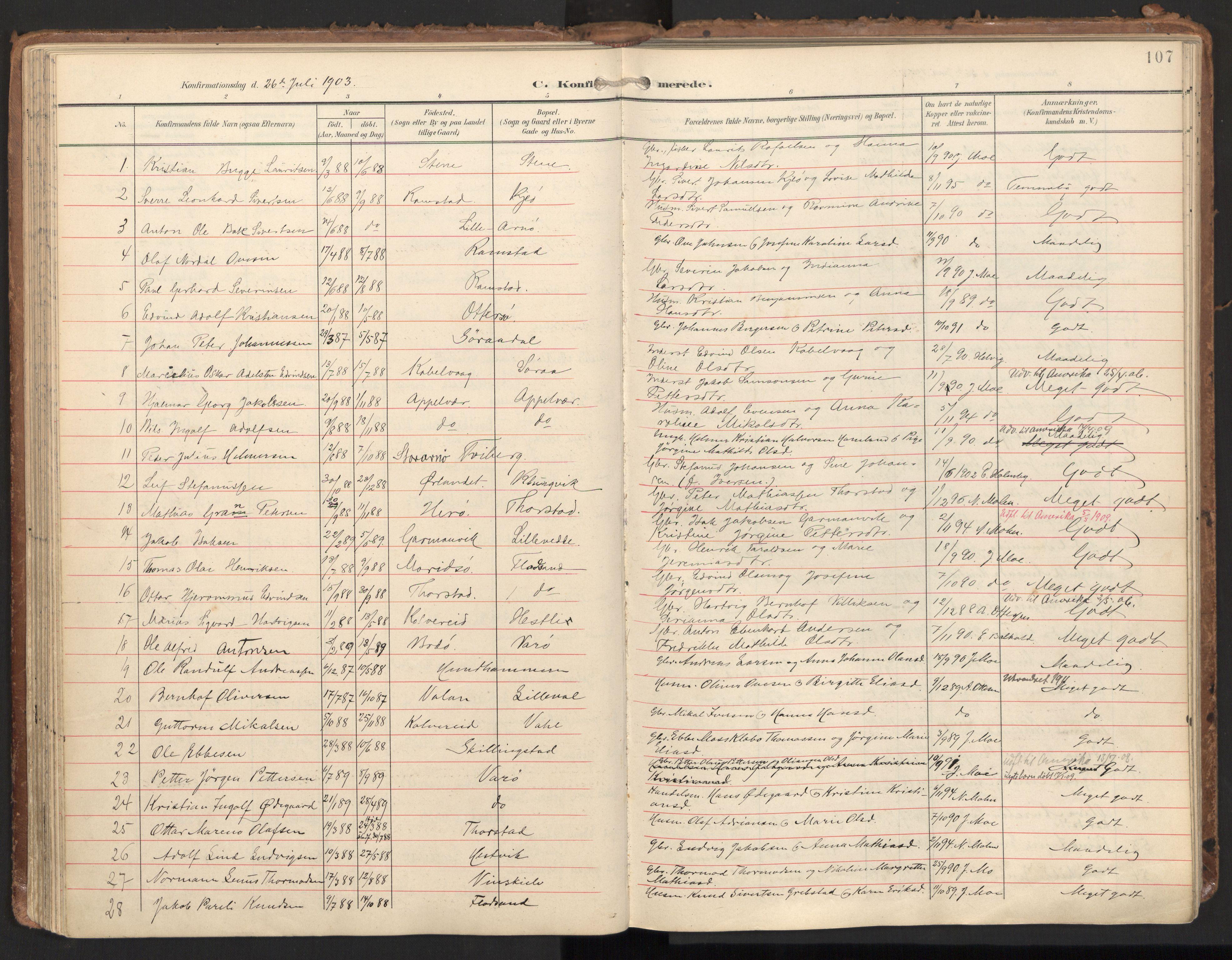 SAT, Ministerialprotokoller, klokkerbøker og fødselsregistre - Nord-Trøndelag, 784/L0677: Ministerialbok nr. 784A12, 1900-1920, s. 107