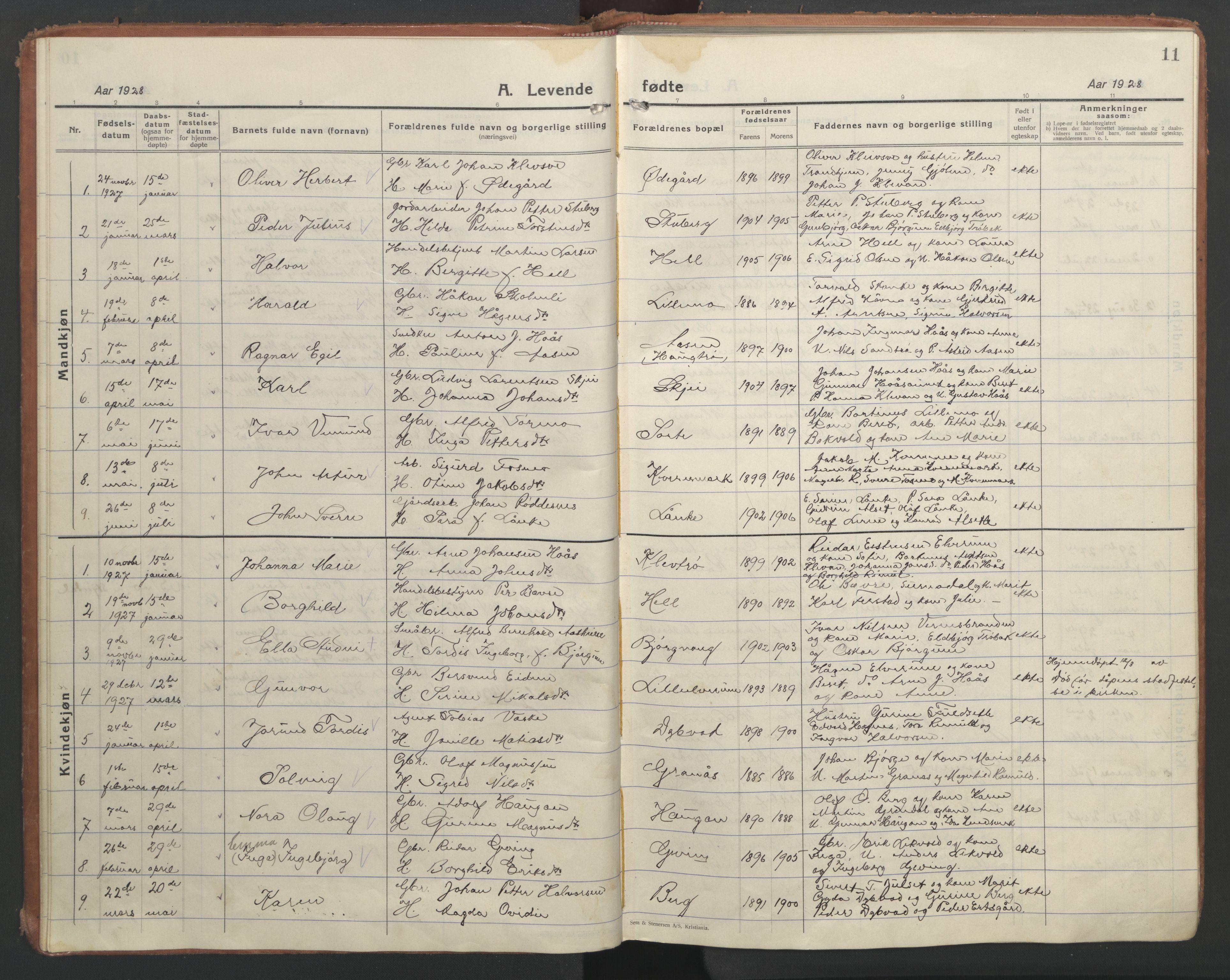 SAT, Ministerialprotokoller, klokkerbøker og fødselsregistre - Nord-Trøndelag, 710/L0097: Klokkerbok nr. 710C02, 1925-1955, s. 11