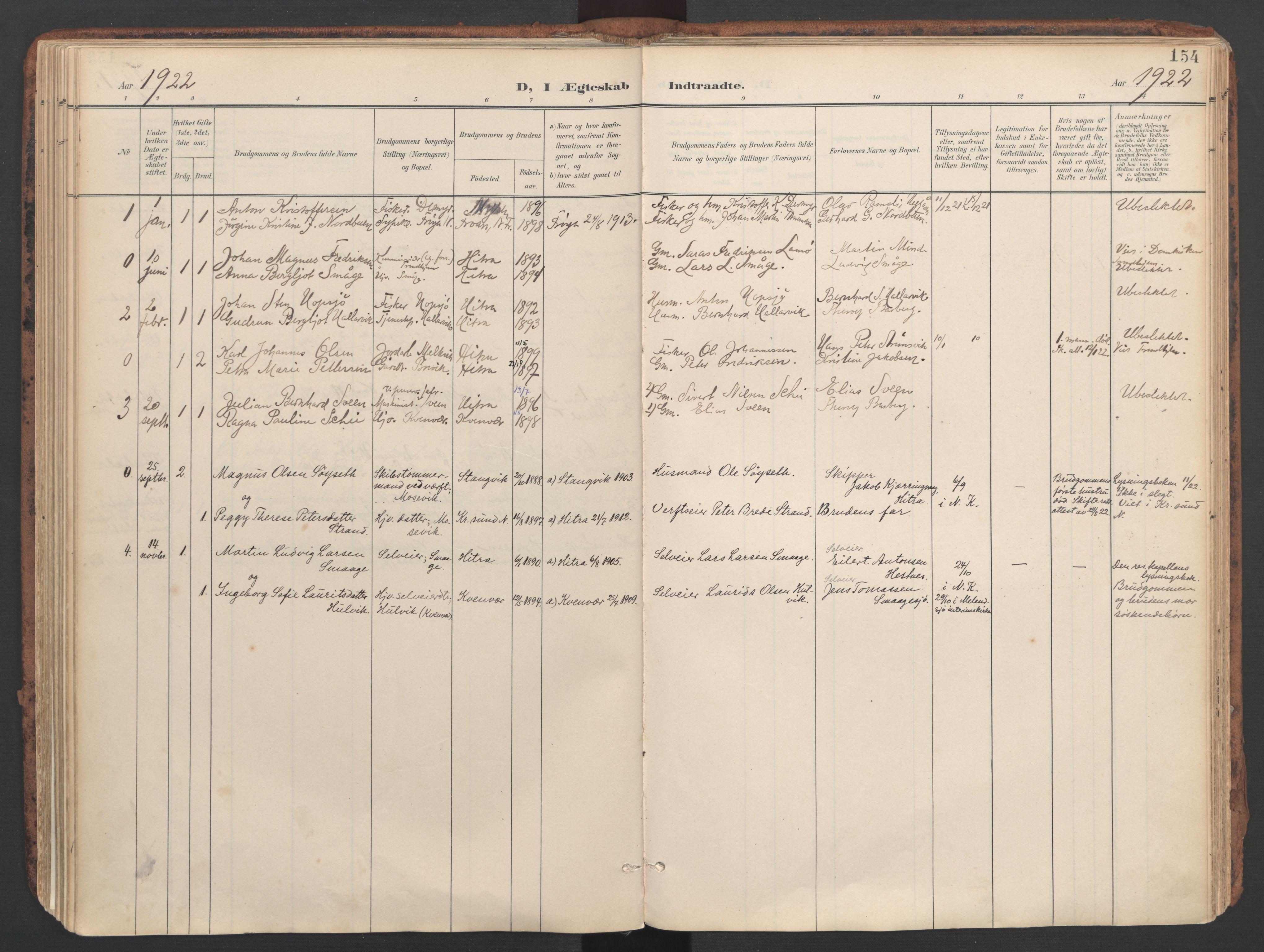 SAT, Ministerialprotokoller, klokkerbøker og fødselsregistre - Sør-Trøndelag, 634/L0537: Ministerialbok nr. 634A13, 1896-1922, s. 154