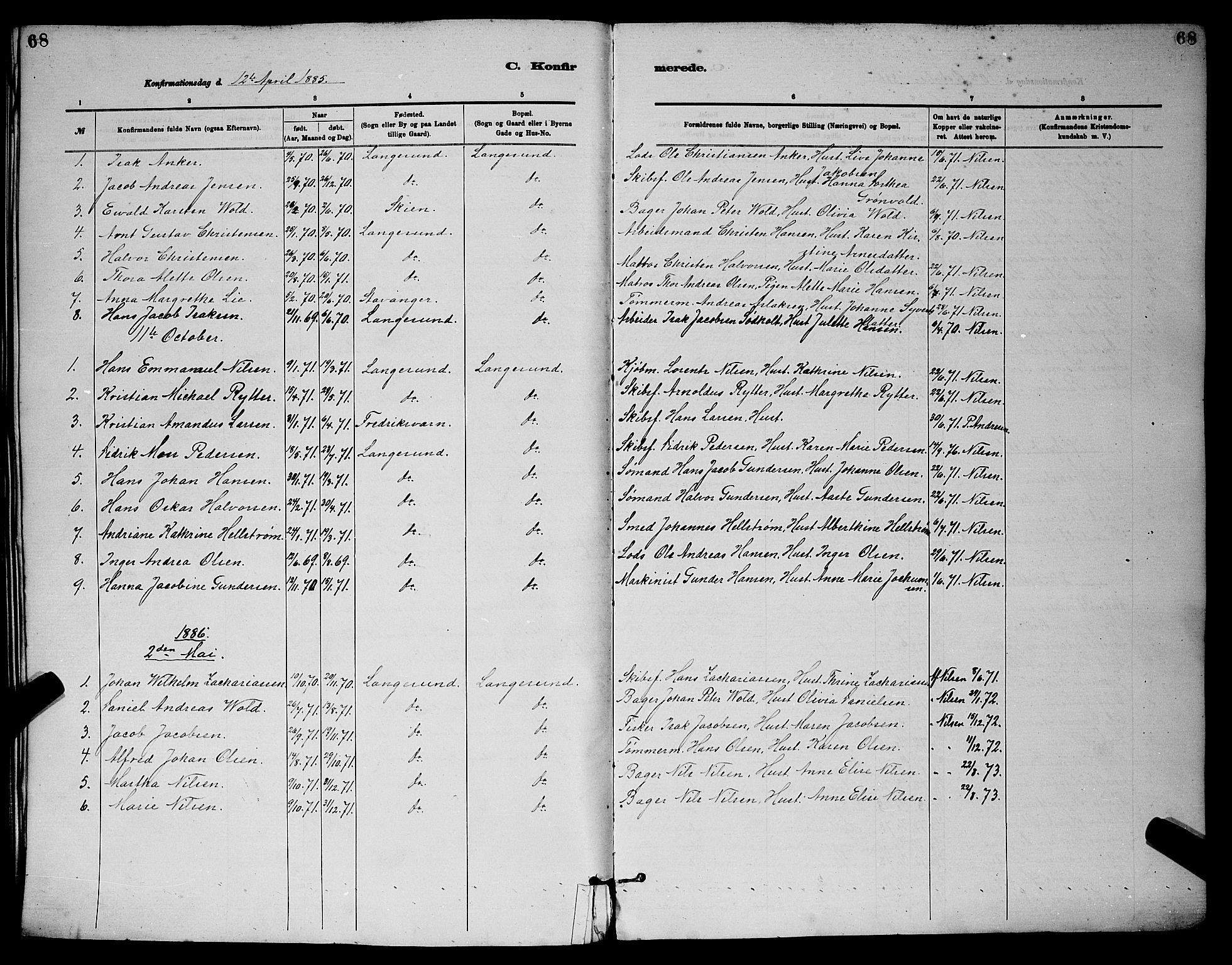 SAKO, Langesund kirkebøker, G/Ga/L0005: Klokkerbok nr. 5, 1884-1898, s. 68