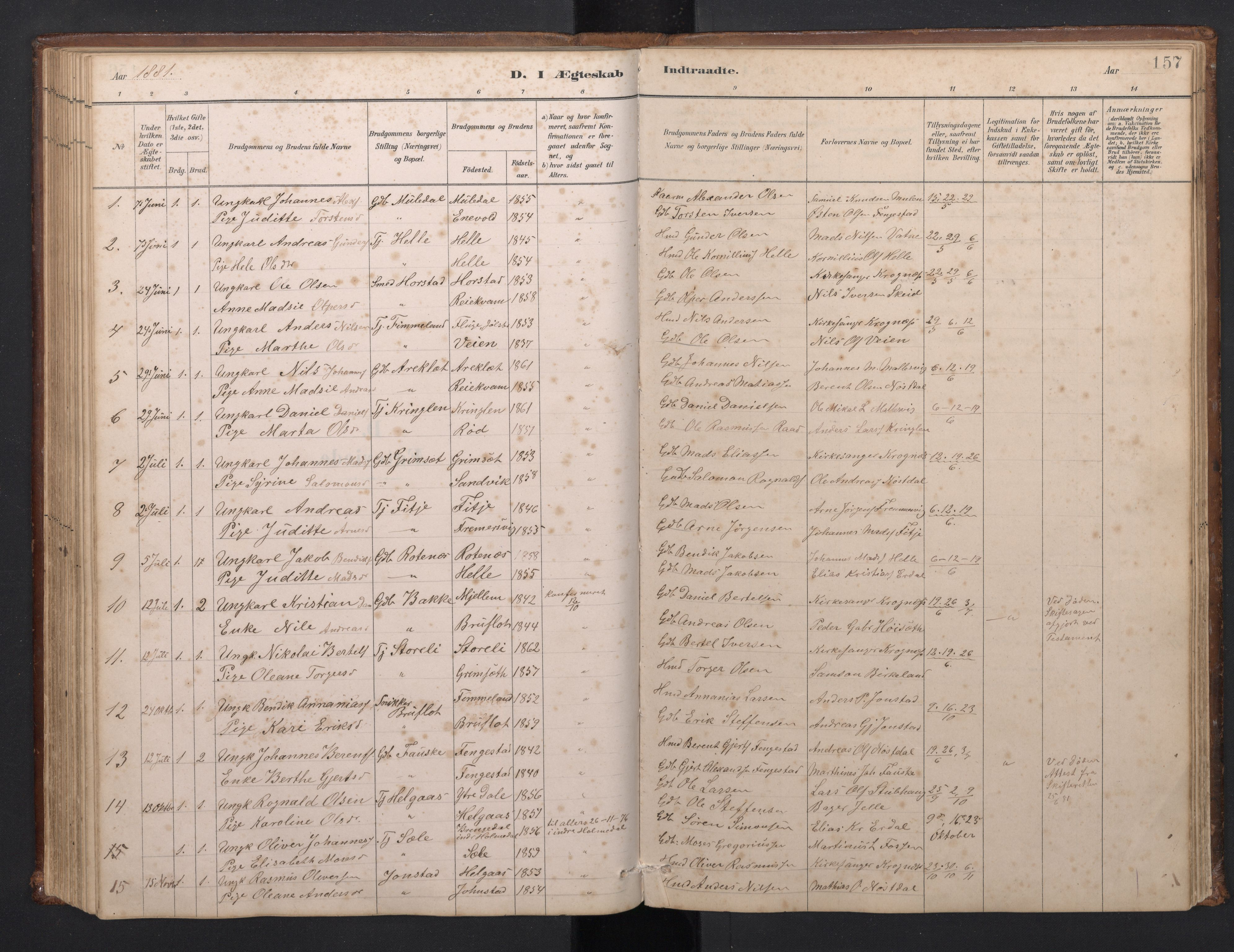 SAB, Førde Sokneprestembete, H/Hab: Klokkerbok nr. D 3, 1881-1897, s. 156b-157a