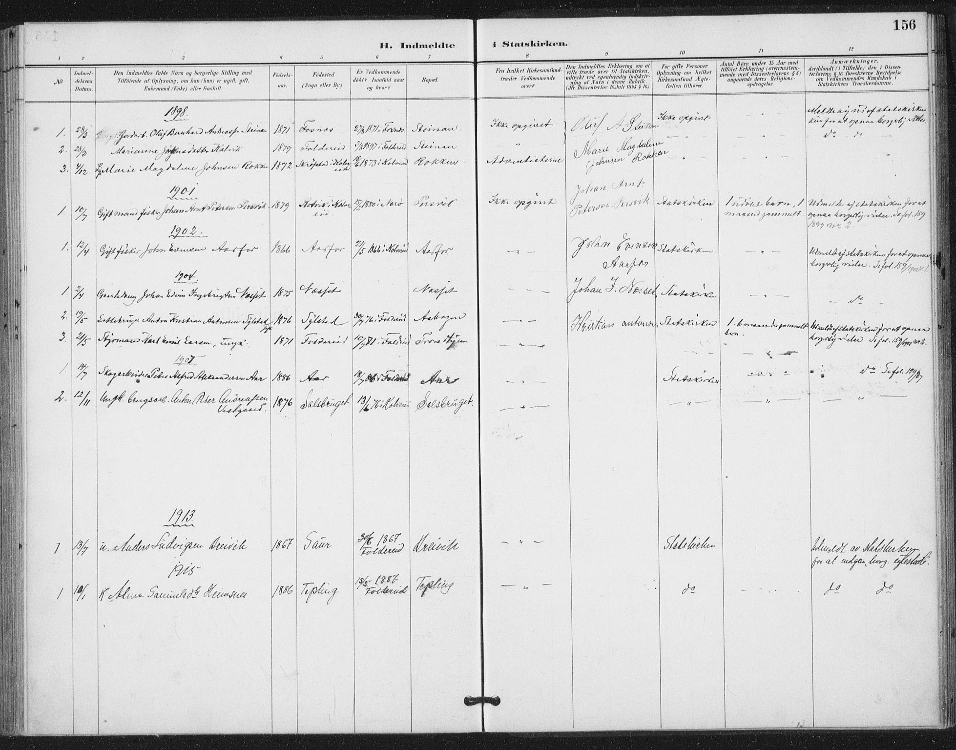 SAT, Ministerialprotokoller, klokkerbøker og fødselsregistre - Nord-Trøndelag, 783/L0660: Ministerialbok nr. 783A02, 1886-1918, s. 156