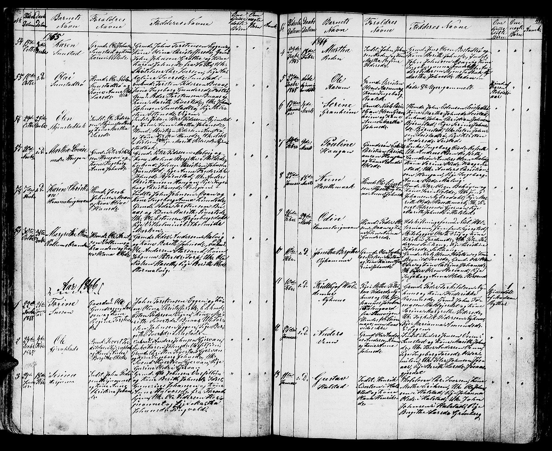 SAT, Ministerialprotokoller, klokkerbøker og fødselsregistre - Sør-Trøndelag, 616/L0422: Klokkerbok nr. 616C05, 1850-1888, s. 42