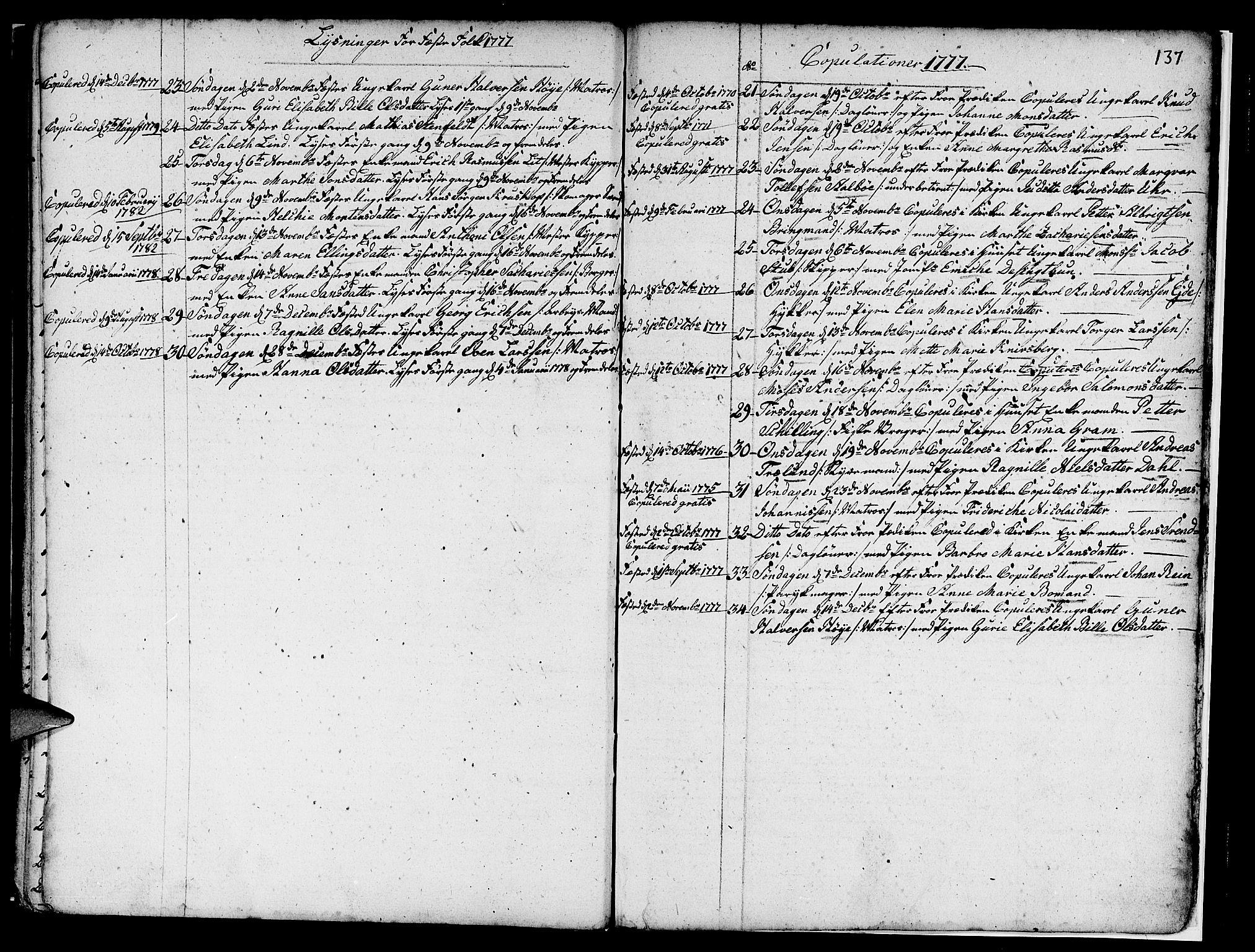 SAB, Nykirken Sokneprestembete, H/Haa: Ministerialbok nr. A 7, 1719-1781, s. 137