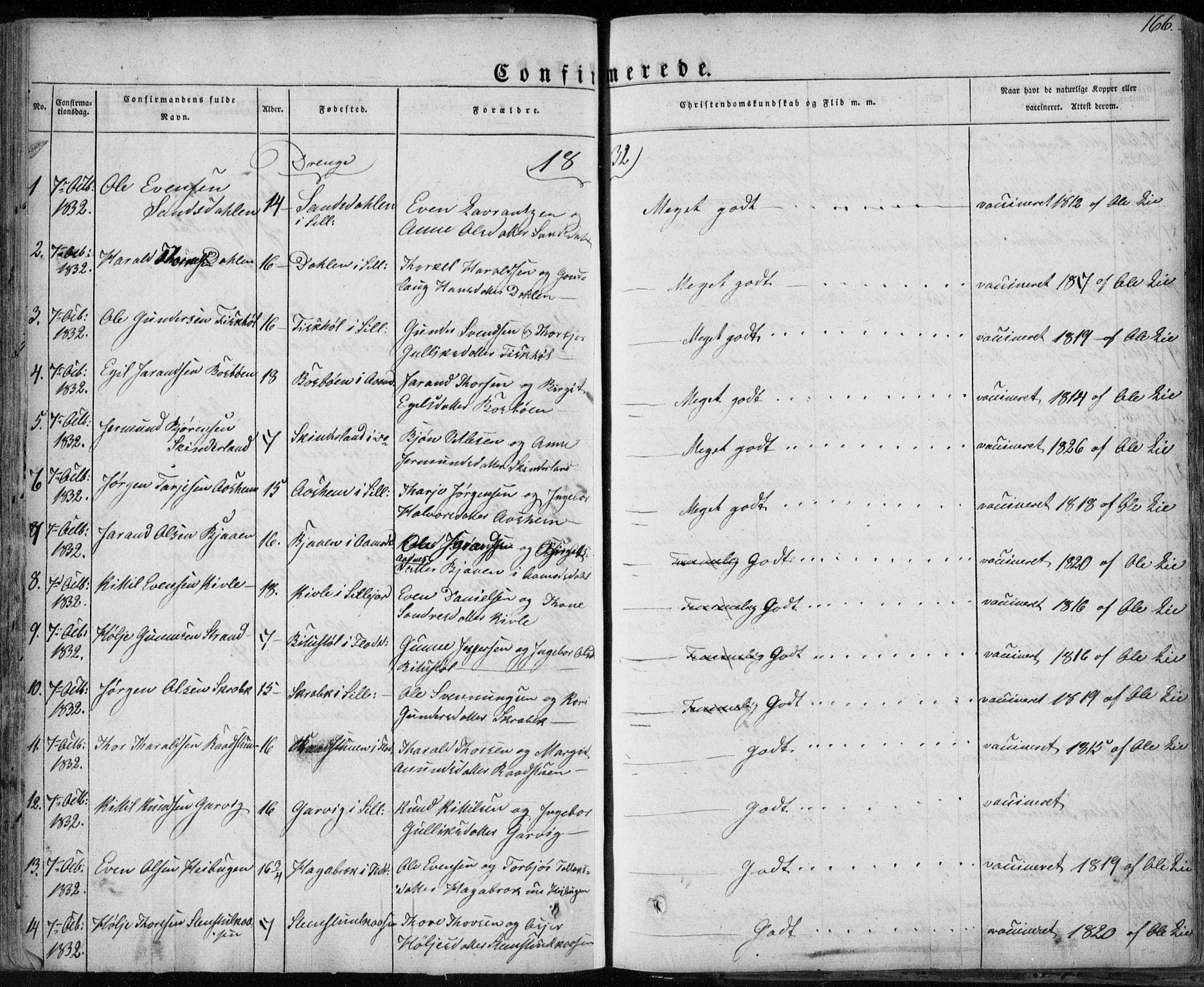 SAKO, Seljord kirkebøker, F/Fa/L0011: Ministerialbok nr. I 11, 1831-1849, s. 166
