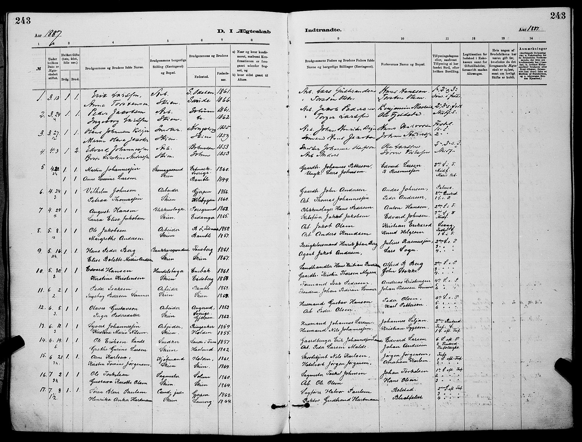 SAKO, Skien kirkebøker, G/Ga/L0006: Klokkerbok nr. 6, 1881-1890, s. 243