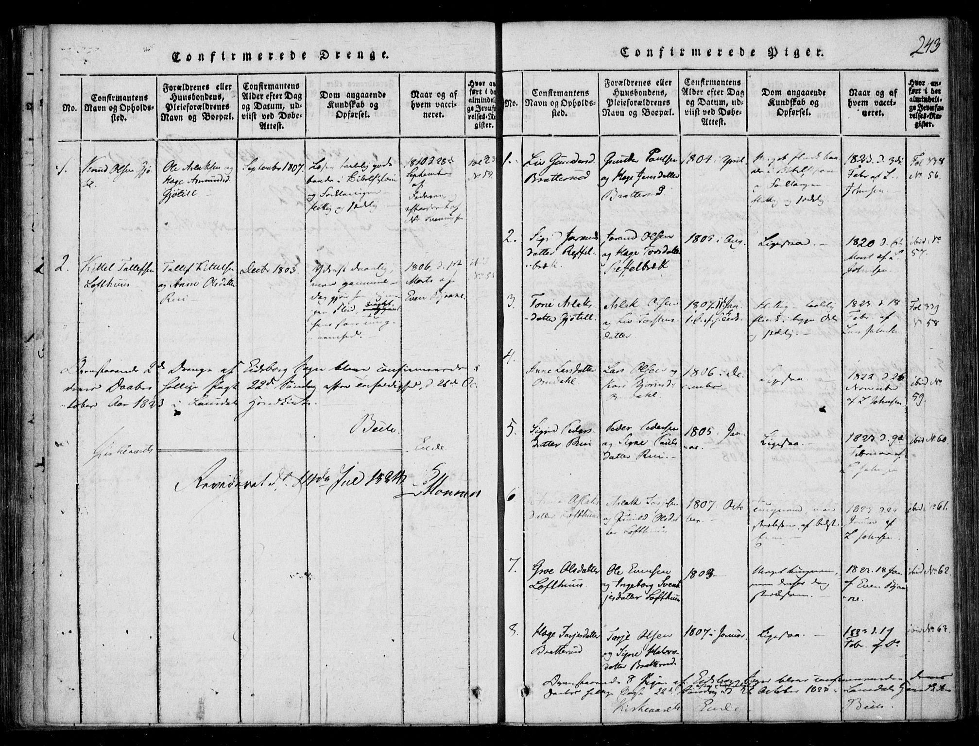 SAKO, Lårdal kirkebøker, F/Fb/L0001: Ministerialbok nr. II 1, 1815-1860, s. 243