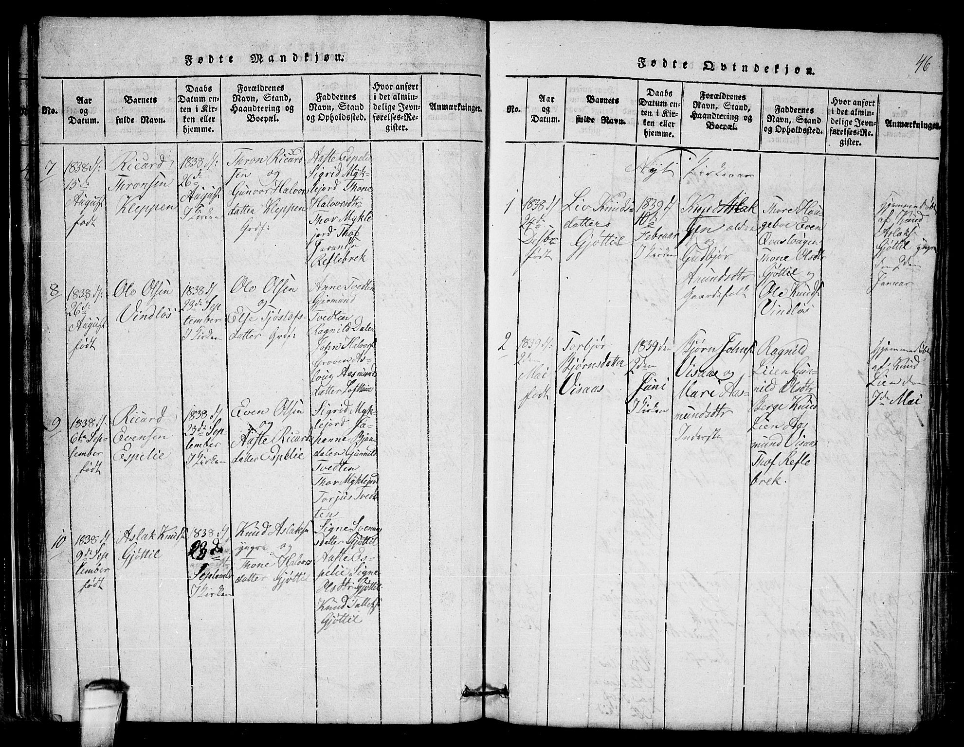 SAKO, Lårdal kirkebøker, G/Gb/L0001: Klokkerbok nr. II 1, 1815-1865, s. 46