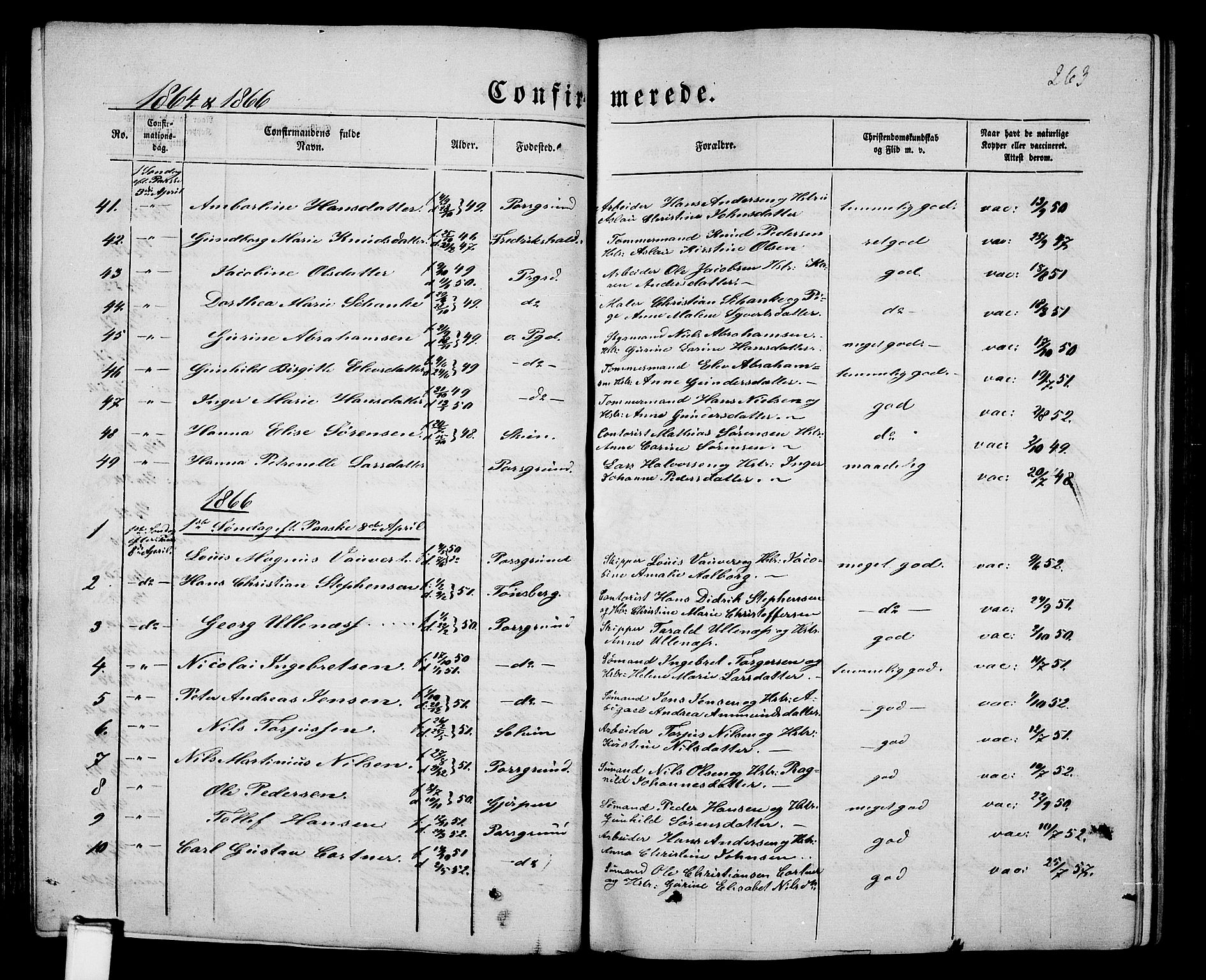 SAKO, Porsgrunn kirkebøker , G/Gb/L0004: Klokkerbok nr. II 4, 1853-1882, s. 263
