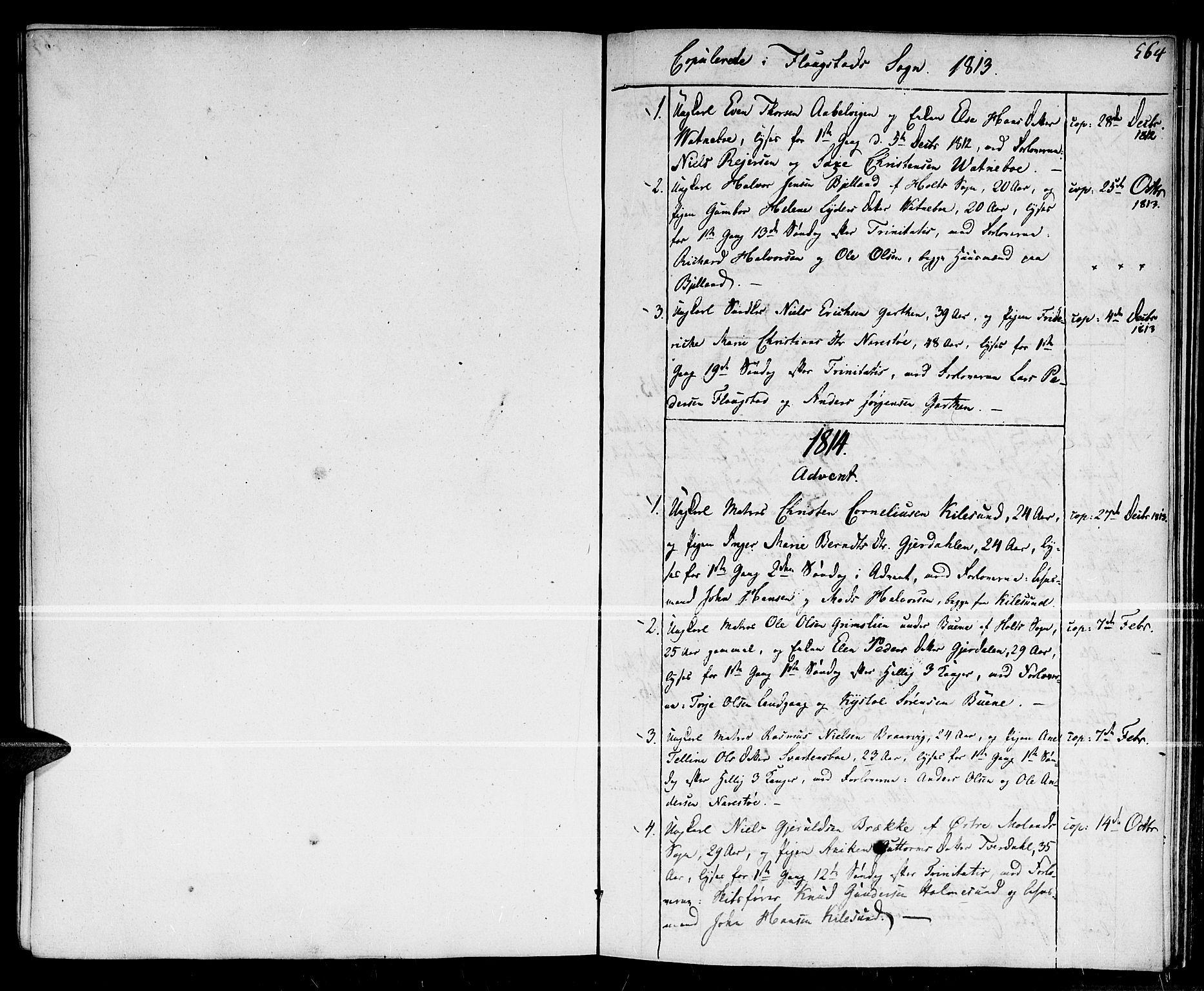 SAK, Dypvåg sokneprestkontor, F/Fa/Faa/L0002: Ministerialbok nr. A 2 /2, 1813-1824, s. 564