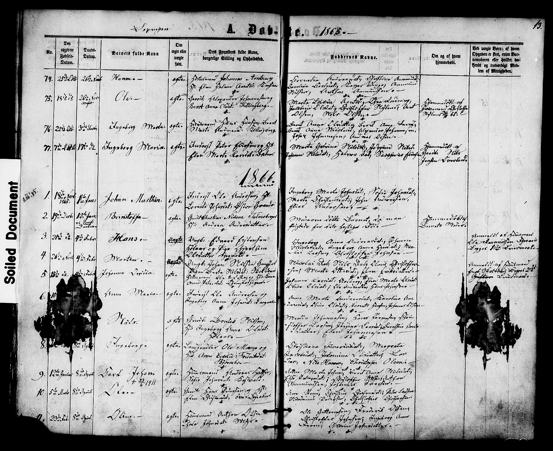 SAT, Ministerialprotokoller, klokkerbøker og fødselsregistre - Nord-Trøndelag, 701/L0009: Ministerialbok nr. 701A09 /1, 1864-1882, s. 13