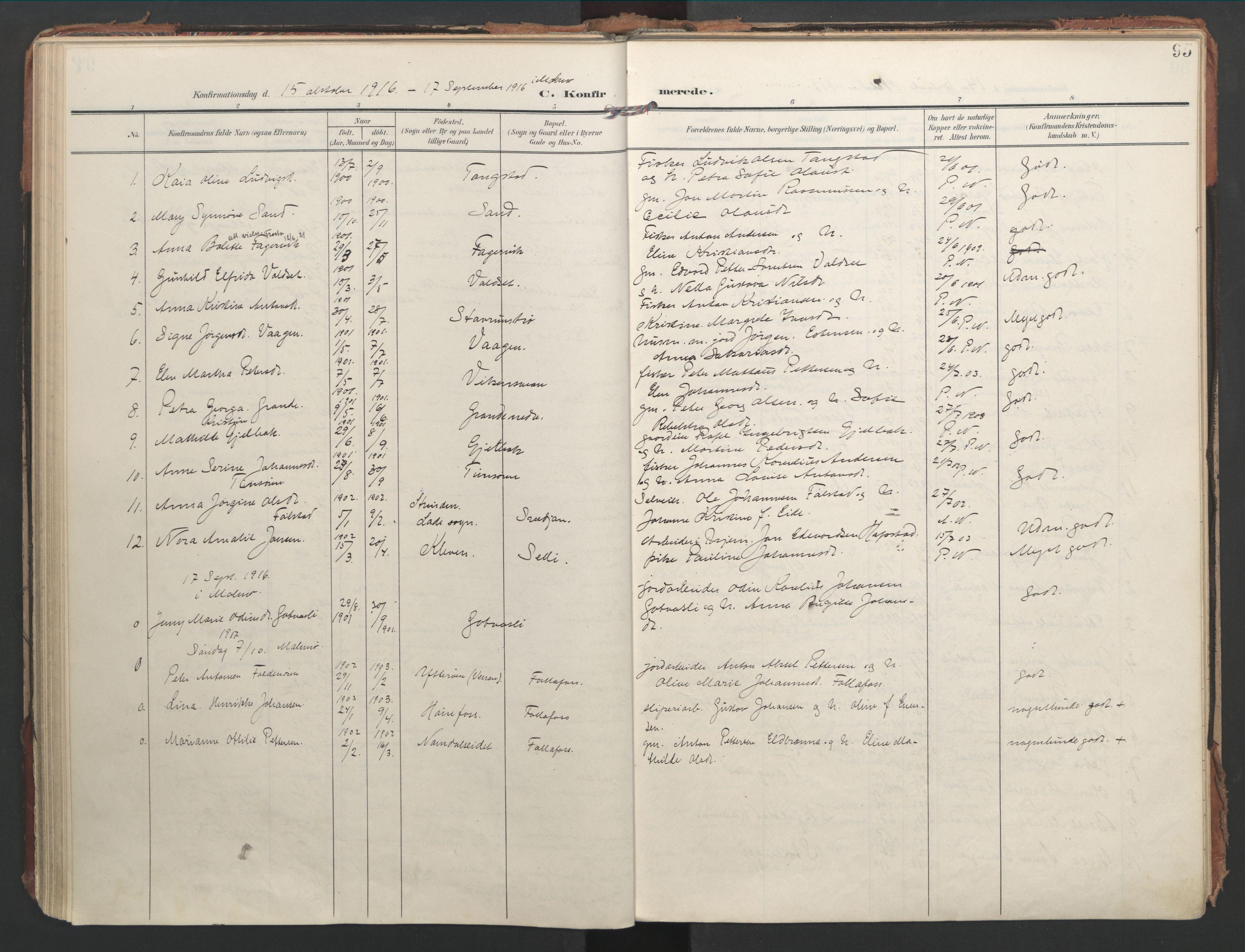 SAT, Ministerialprotokoller, klokkerbøker og fødselsregistre - Nord-Trøndelag, 744/L0421: Ministerialbok nr. 744A05, 1905-1930, s. 95