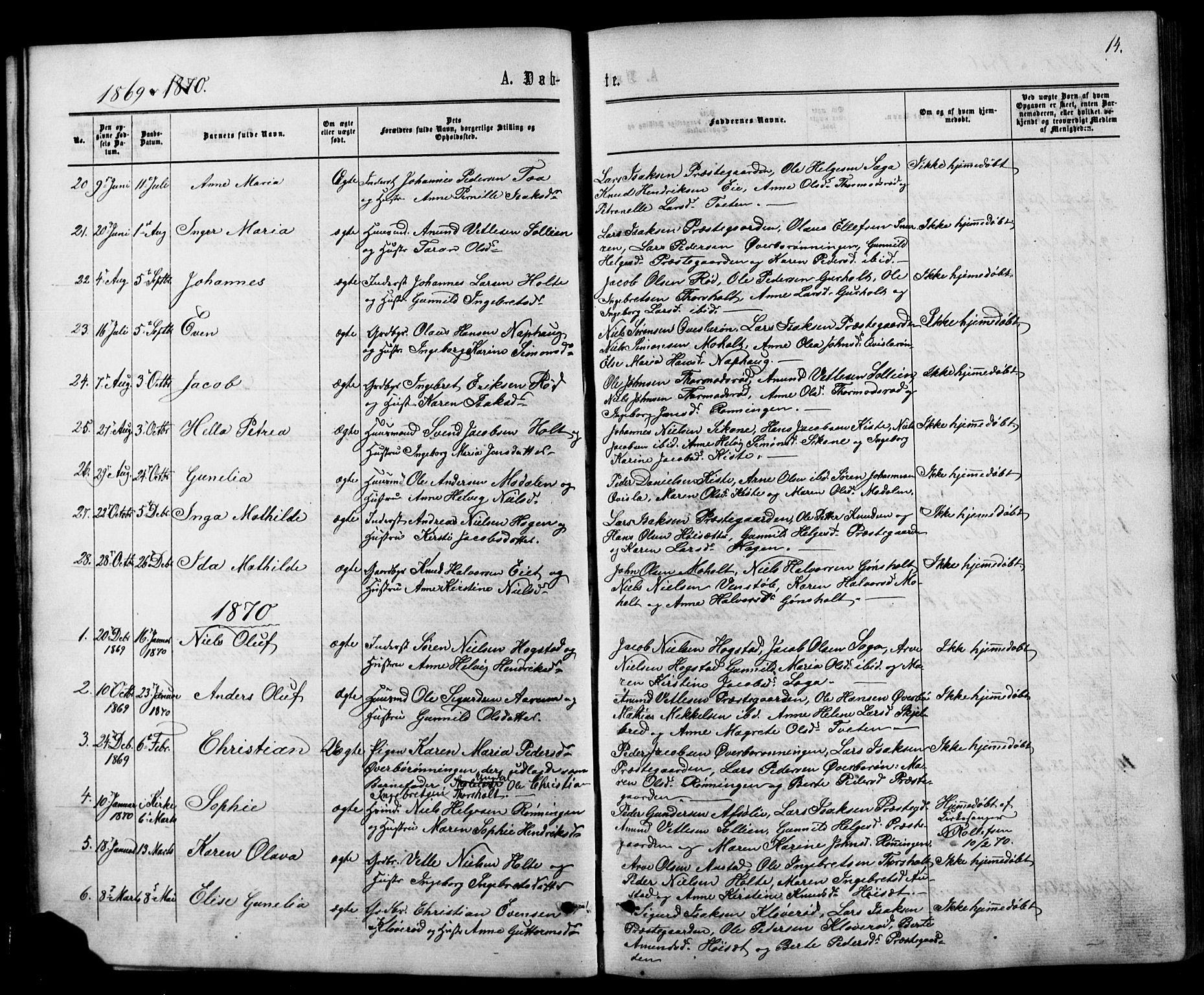 SAKO, Siljan kirkebøker, G/Ga/L0002: Klokkerbok nr. 2, 1864-1908, s. 14