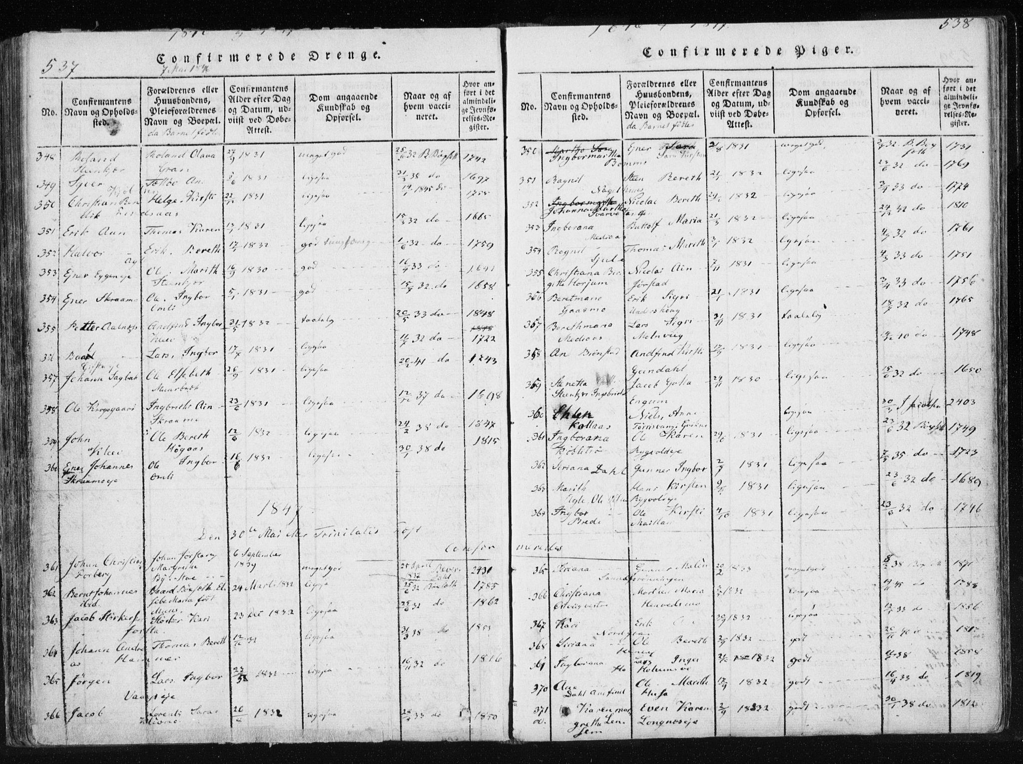 SAT, Ministerialprotokoller, klokkerbøker og fødselsregistre - Nord-Trøndelag, 749/L0469: Ministerialbok nr. 749A03, 1817-1857, s. 537-538