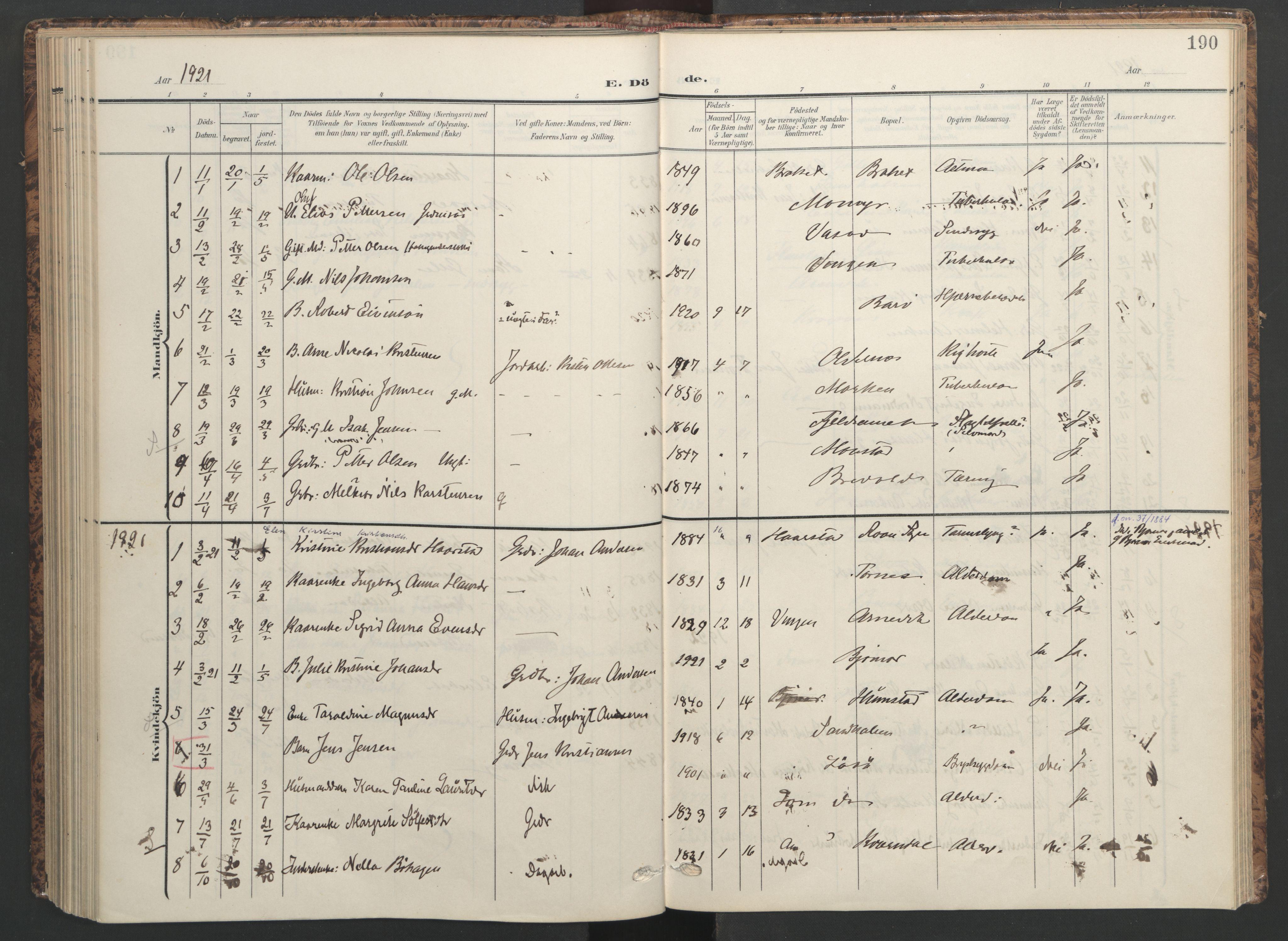SAT, Ministerialprotokoller, klokkerbøker og fødselsregistre - Sør-Trøndelag, 655/L0682: Ministerialbok nr. 655A11, 1908-1922, s. 190