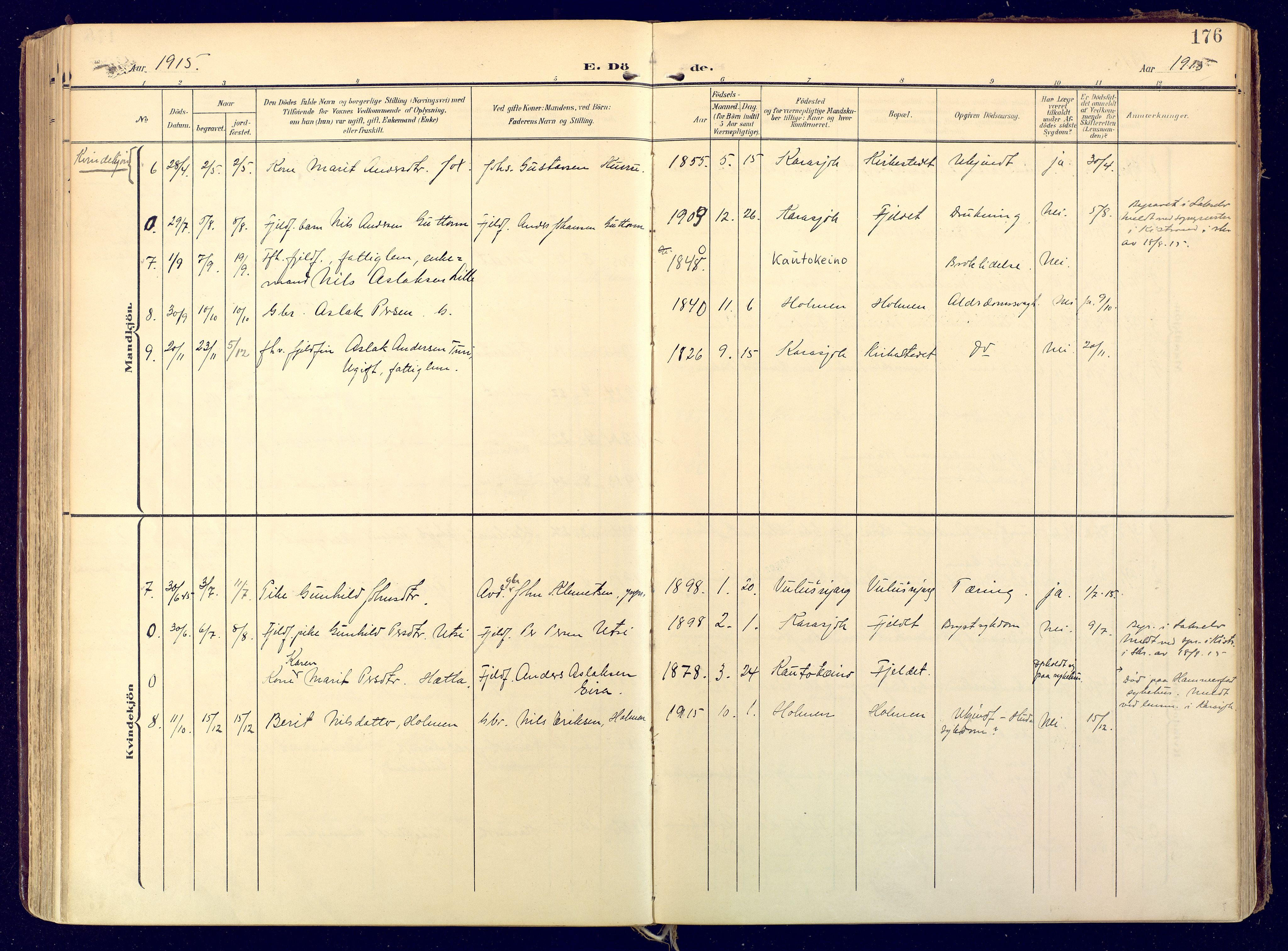 SATØ, Karasjok sokneprestkontor, H/Ha: Ministerialbok nr. 3, 1907-1926, s. 176