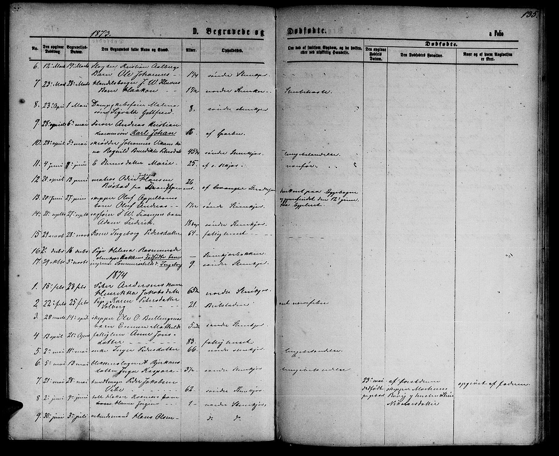 SAT, Ministerialprotokoller, klokkerbøker og fødselsregistre - Nord-Trøndelag, 739/L0373: Klokkerbok nr. 739C01, 1865-1882, s. 135