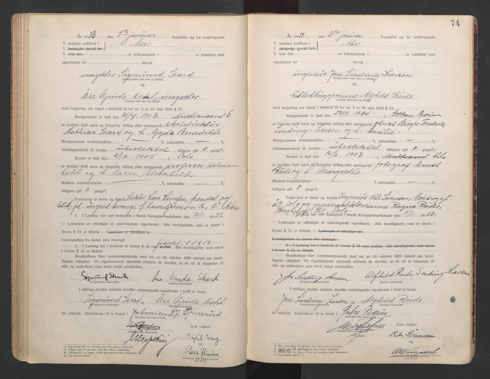 SAO, Aker sorenskriveri, L/Lc/Lcb/L0006: Vigselprotokoll, 1931-1933, s. 74