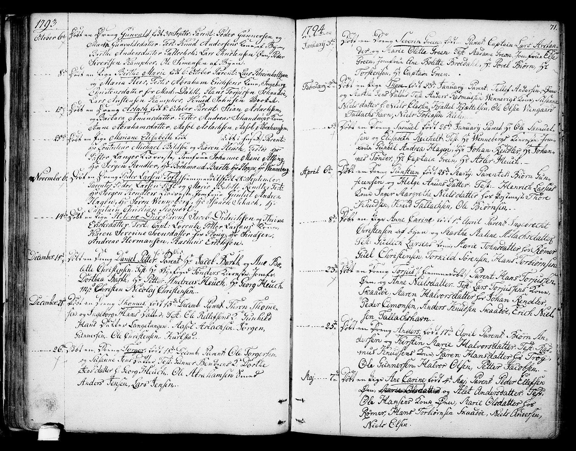 SAKO, Kragerø kirkebøker, F/Fa/L0002: Ministerialbok nr. 2, 1767-1802, s. 71