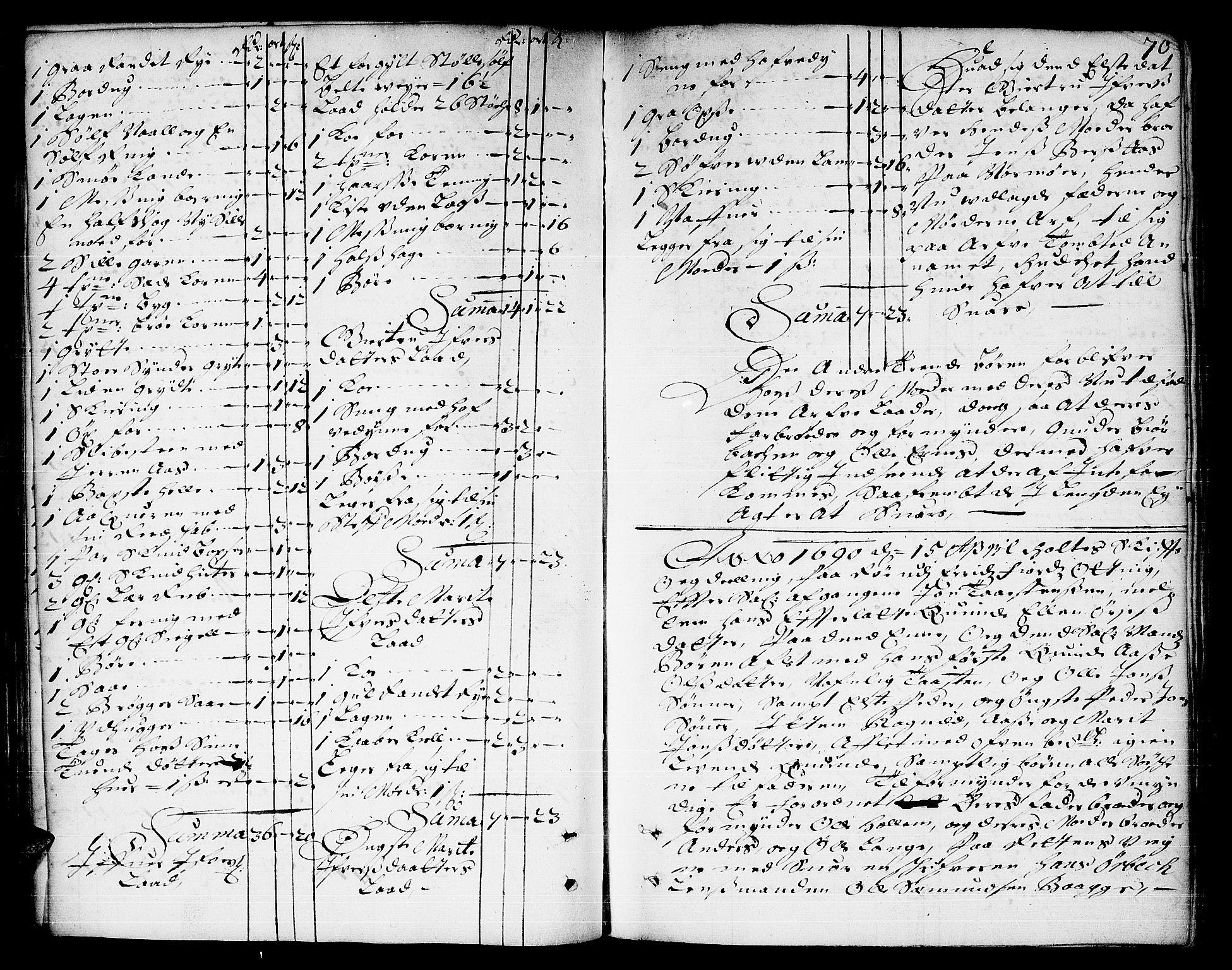 SAT, Romsdal sorenskriveri, 3/3A/L0003: Skifteprotokoll, 1688-1690, s. 69b-70a