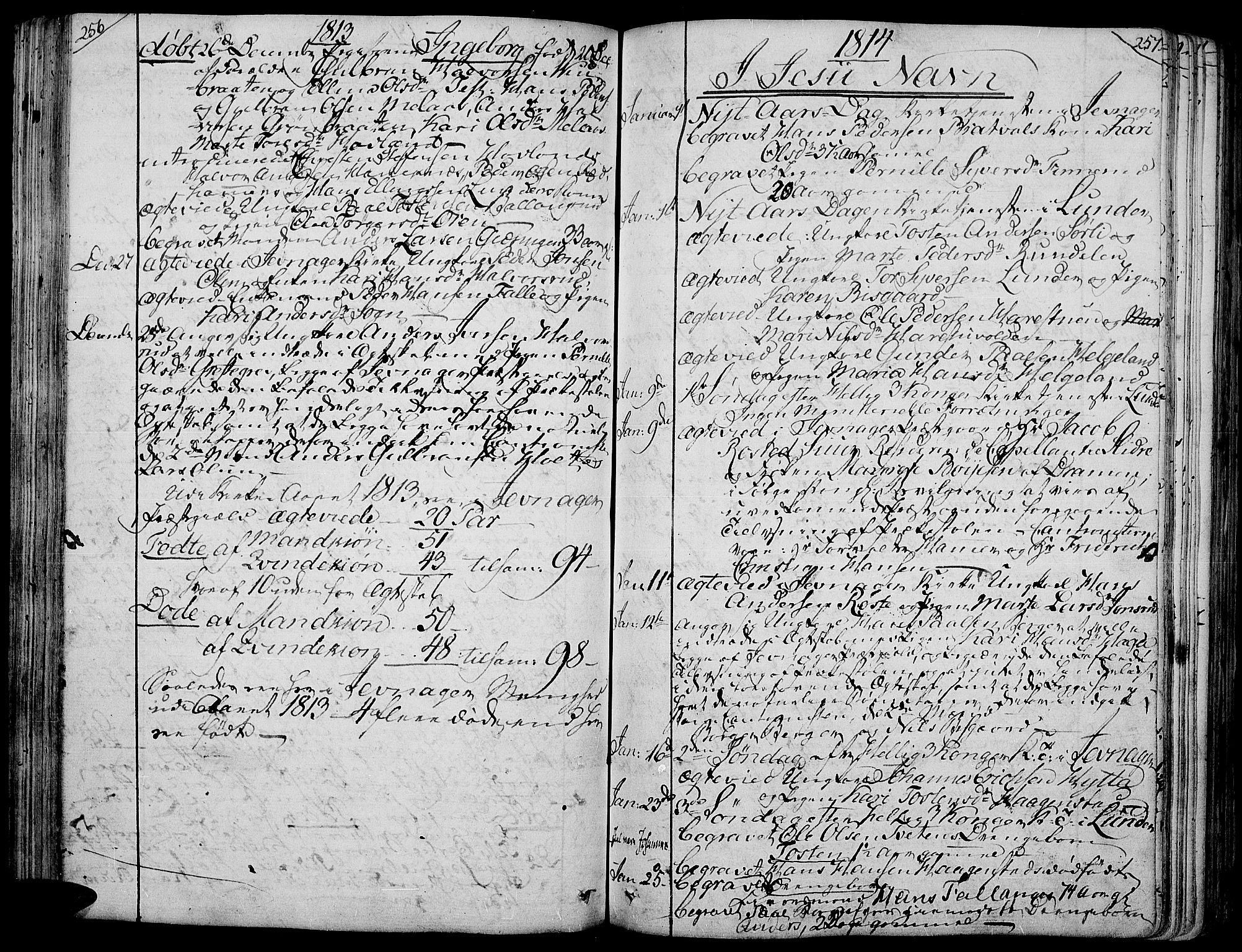 SAH, Jevnaker prestekontor, Ministerialbok nr. 4, 1800-1861, s. 256-257