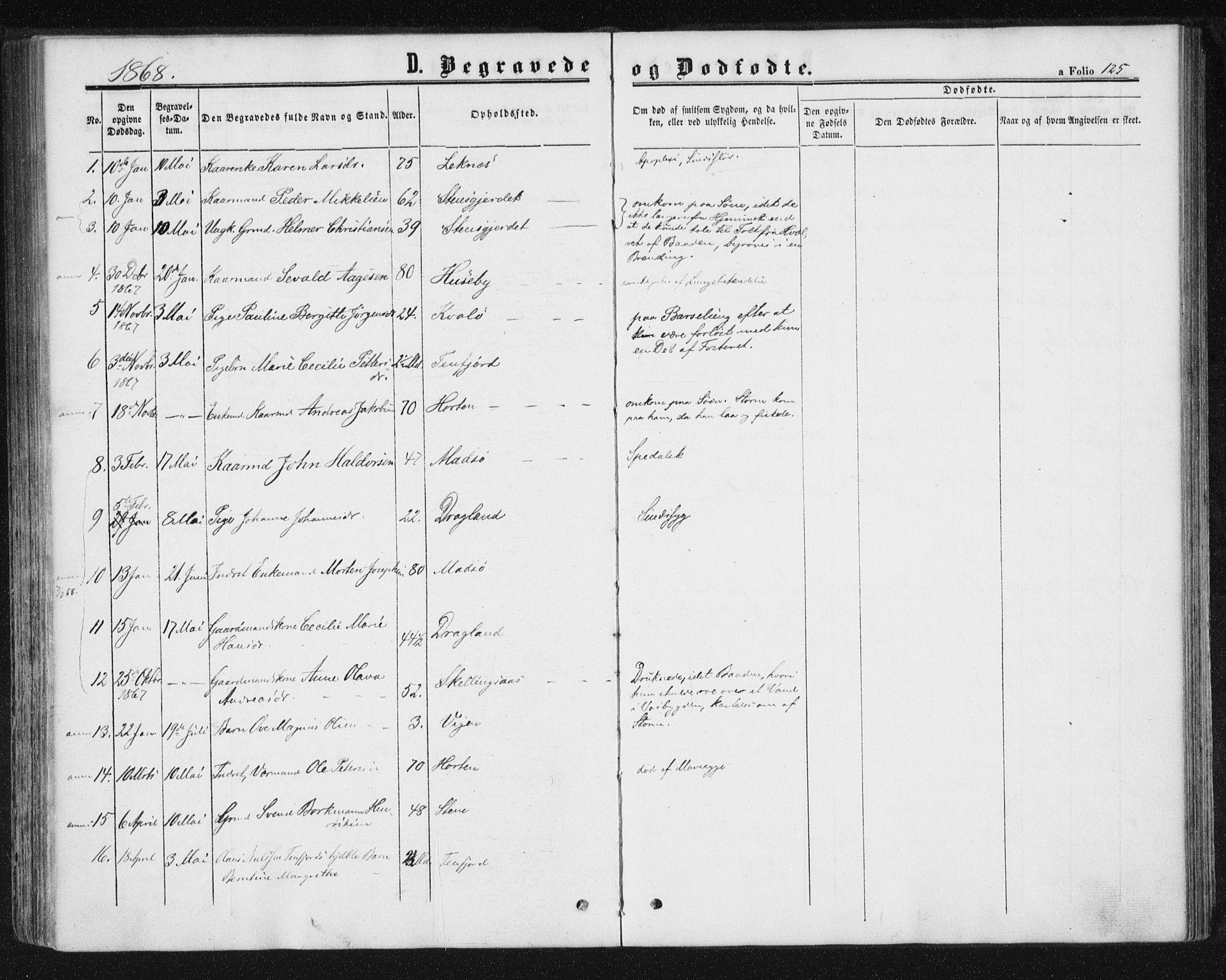 SAT, Ministerialprotokoller, klokkerbøker og fødselsregistre - Nord-Trøndelag, 788/L0696: Ministerialbok nr. 788A03, 1863-1877, s. 125