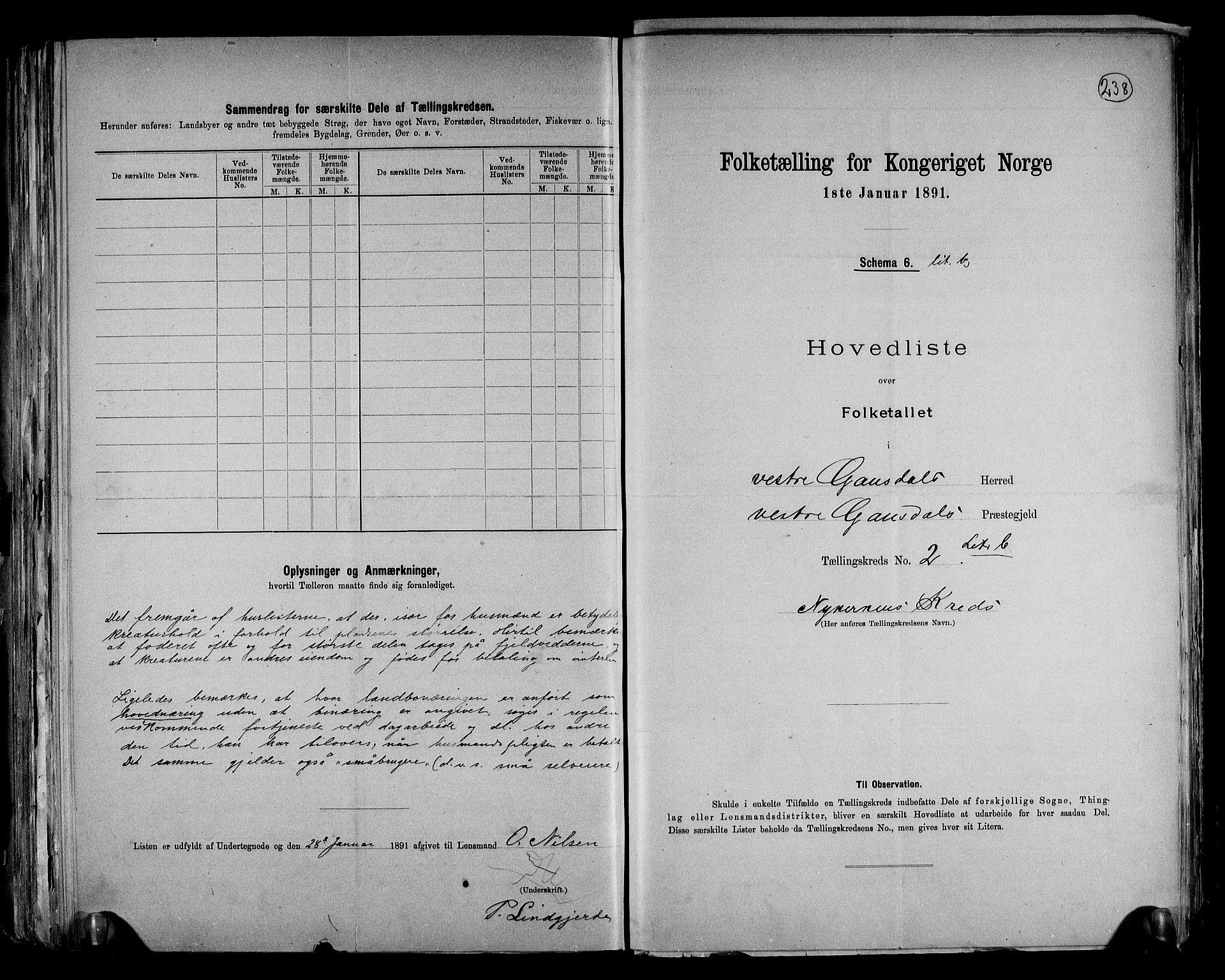 RA, Folketelling 1891 for 0523 Vestre Gausdal herred, 1891, s. 10