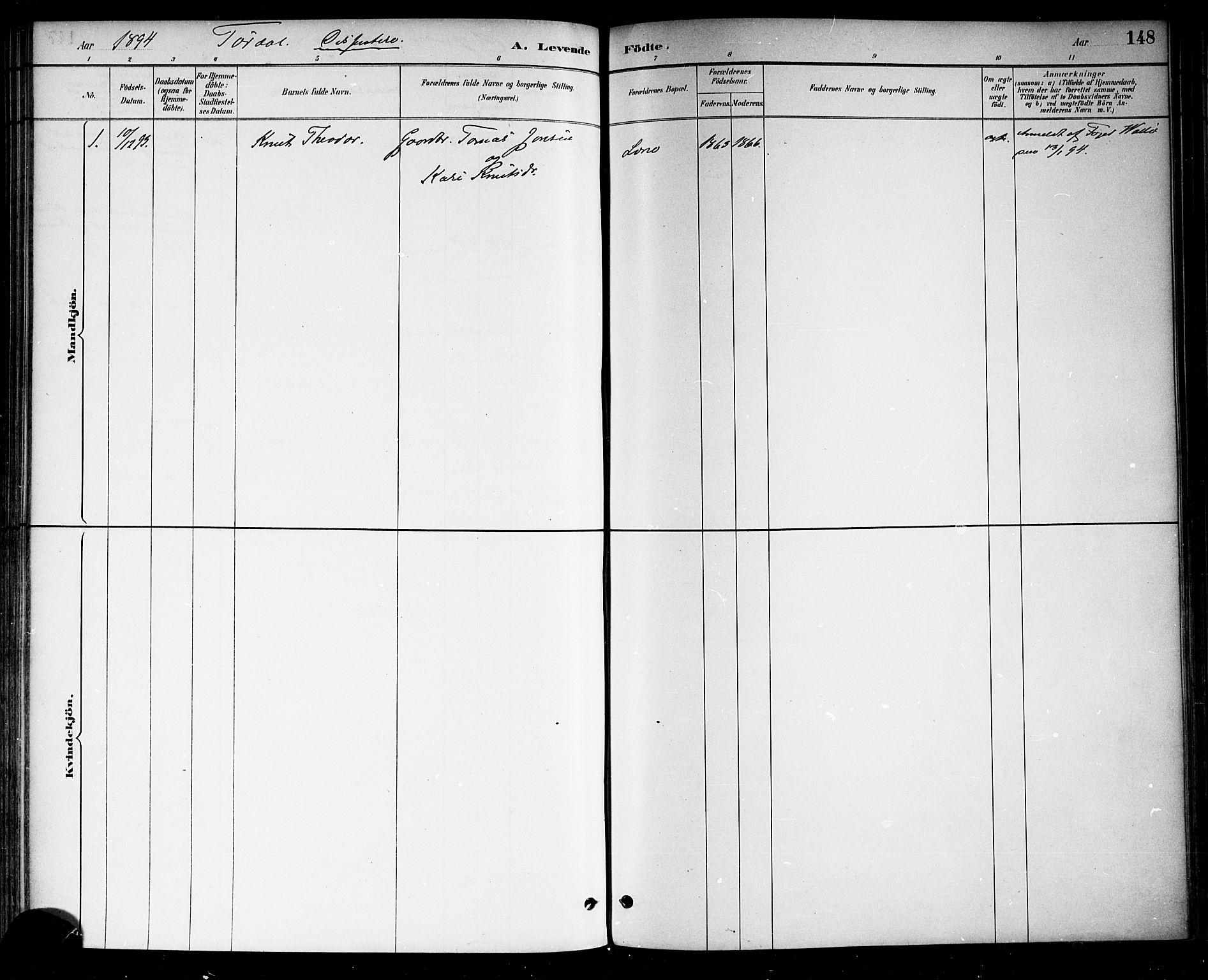 SAKO, Drangedal kirkebøker, F/Fa/L0010: Ministerialbok nr. 10 /2, 1885-1894, s. 148