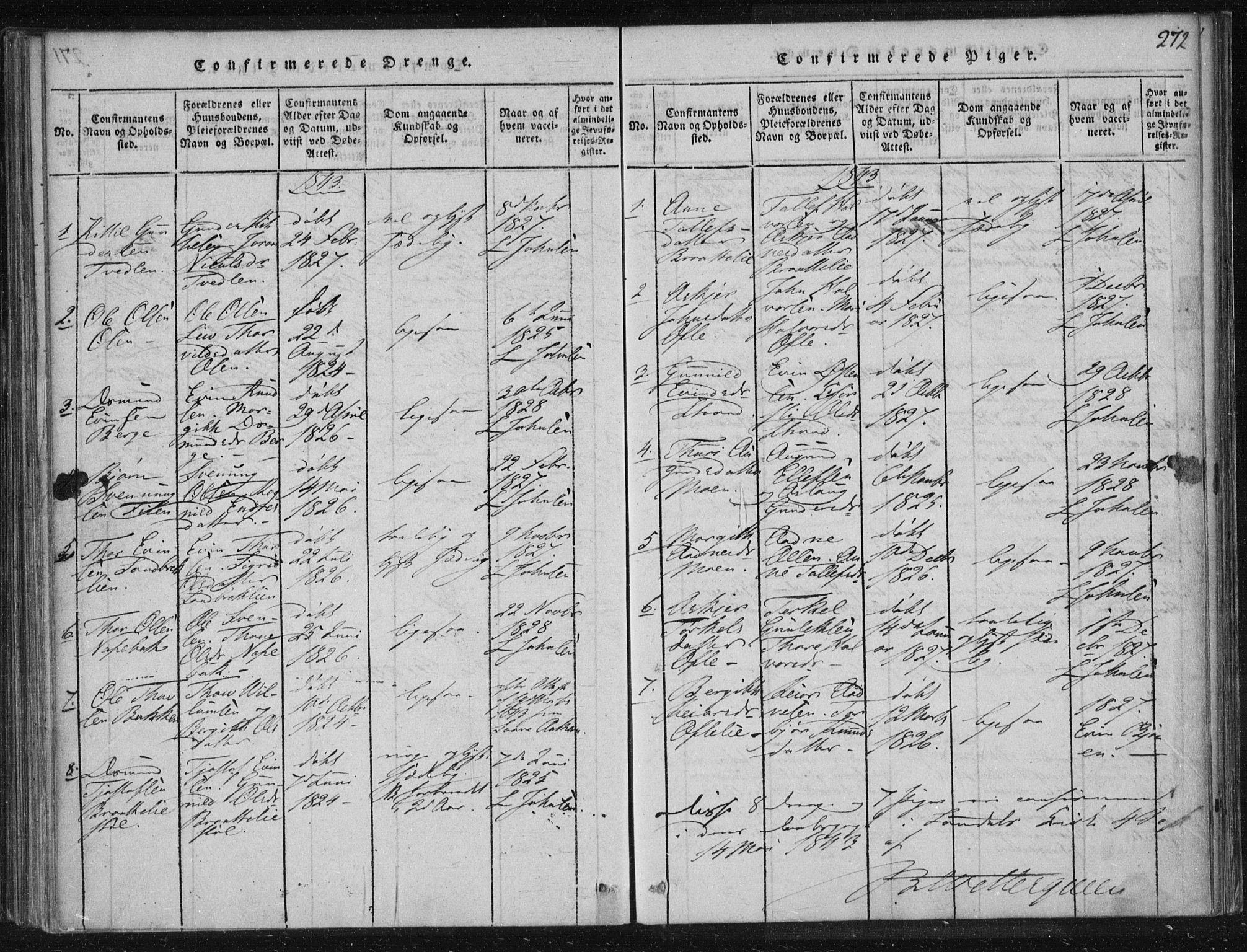 SAKO, Lårdal kirkebøker, F/Fc/L0001: Ministerialbok nr. III 1, 1815-1860, s. 272