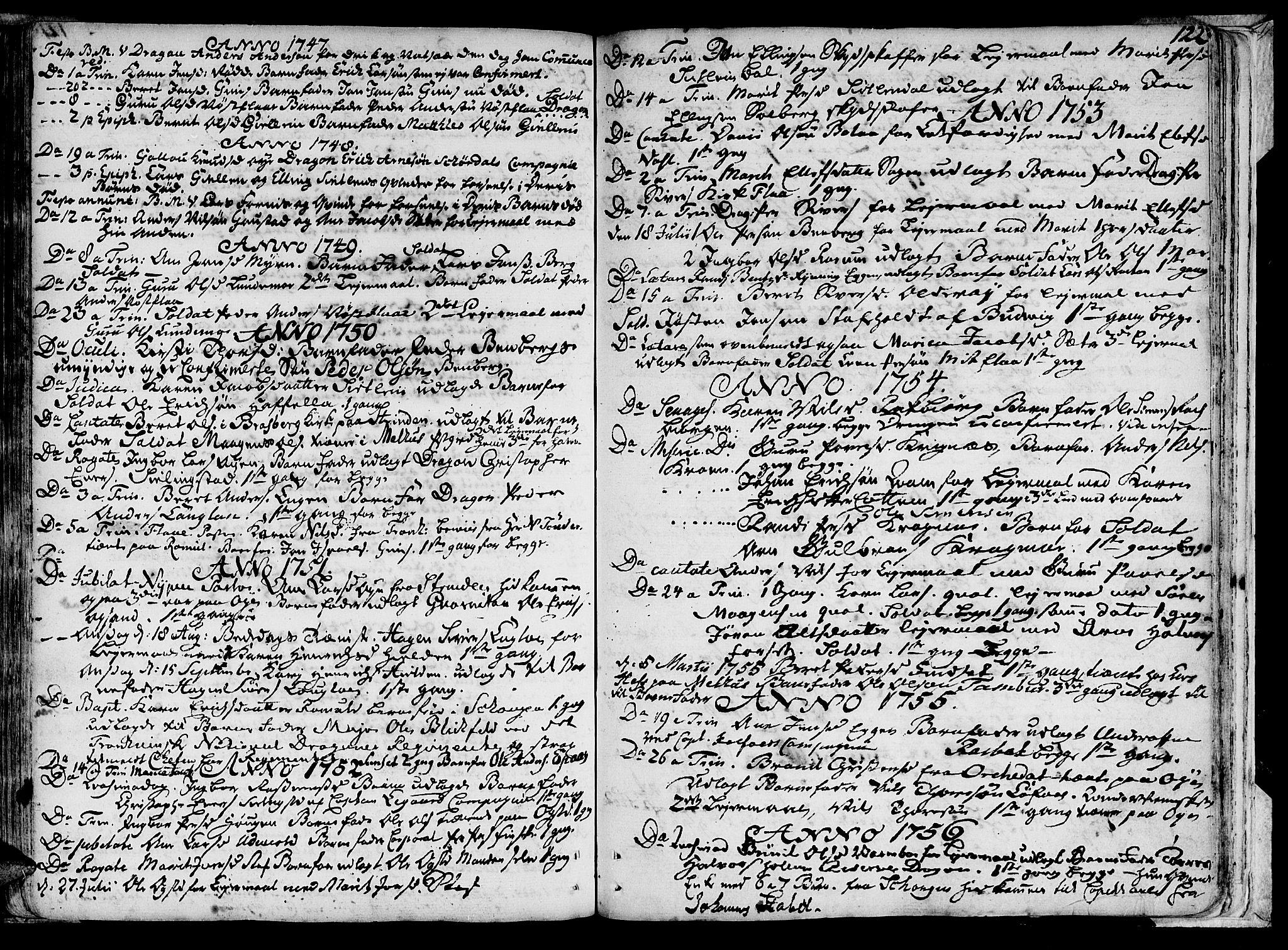 SAT, Ministerialprotokoller, klokkerbøker og fødselsregistre - Sør-Trøndelag, 691/L1057: Ministerialbok nr. 691A01 /1, 1740-1767, s. 122
