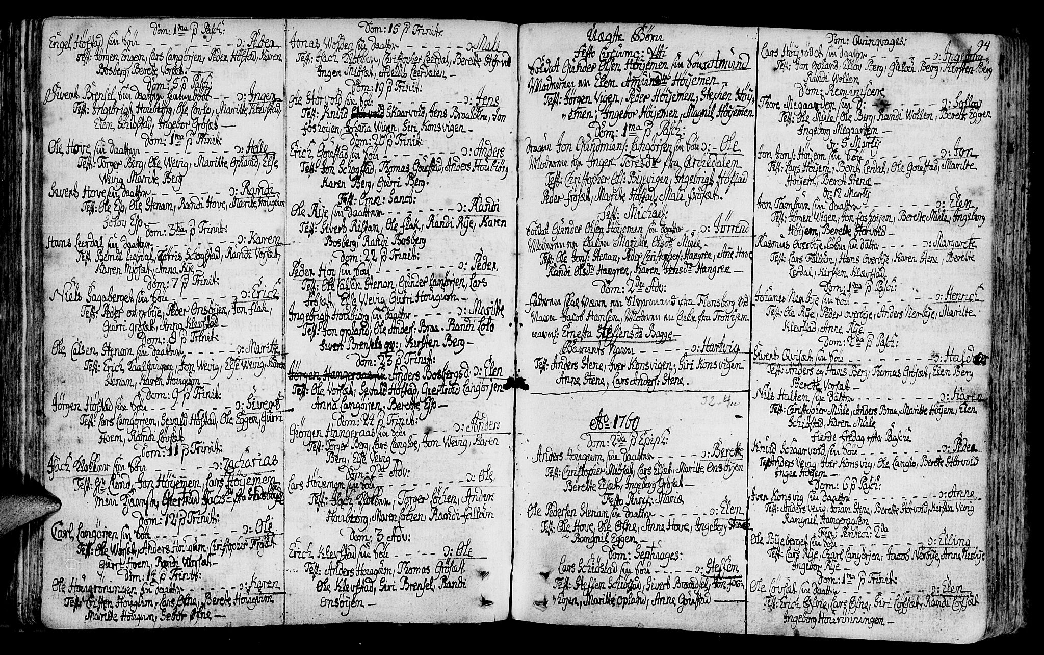SAT, Ministerialprotokoller, klokkerbøker og fødselsregistre - Sør-Trøndelag, 612/L0370: Ministerialbok nr. 612A04, 1754-1802, s. 94