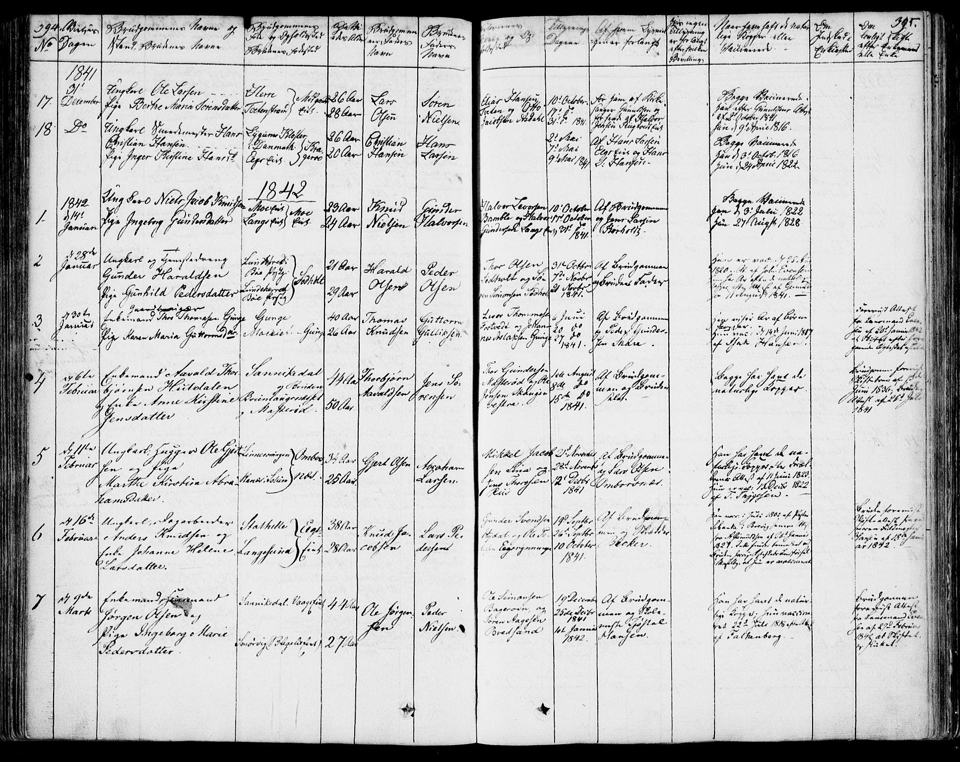 SAKO, Bamble kirkebøker, F/Fa/L0004: Ministerialbok nr. I 4, 1834-1853, s. 394-395