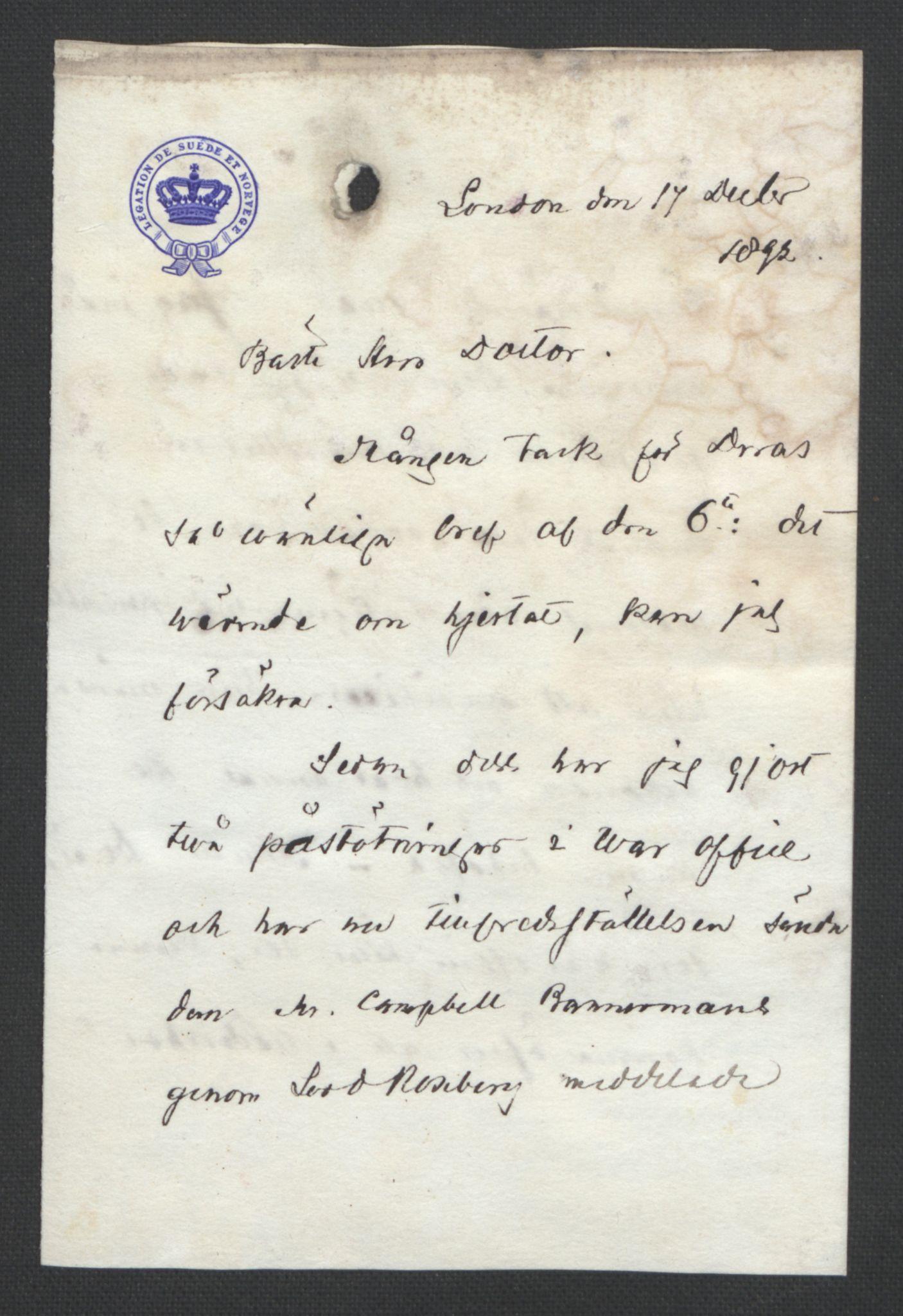 RA, Arbeidskomitéen for Fridtjof Nansens polarekspedisjon, D/L0003: Innk. brev og telegrammer vedr. proviant og utrustning, 1892-1893, s. 3