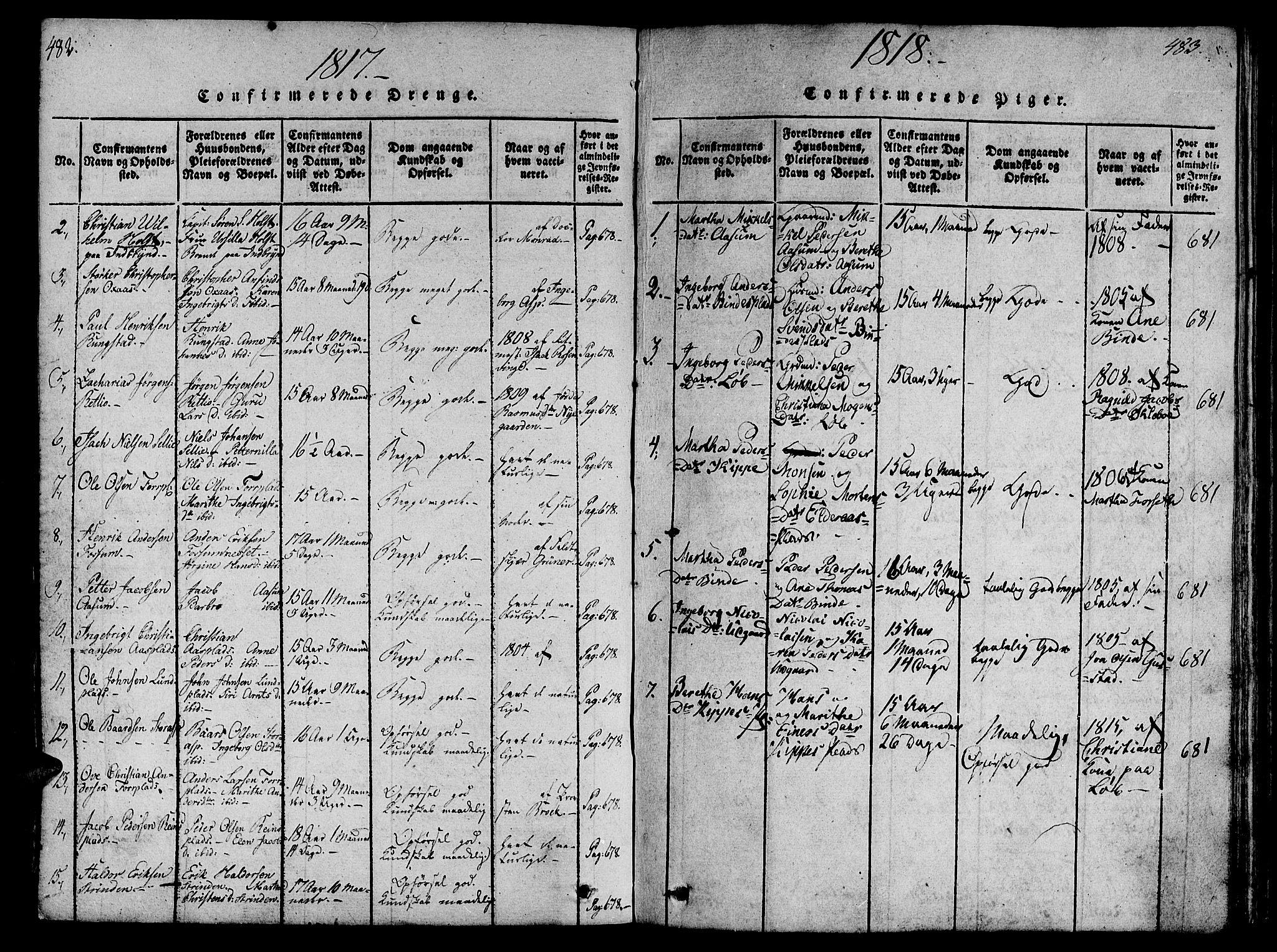 SAT, Ministerialprotokoller, klokkerbøker og fødselsregistre - Nord-Trøndelag, 746/L0441: Ministerialbok nr. 746A03 /1, 1816-1827, s. 482-483