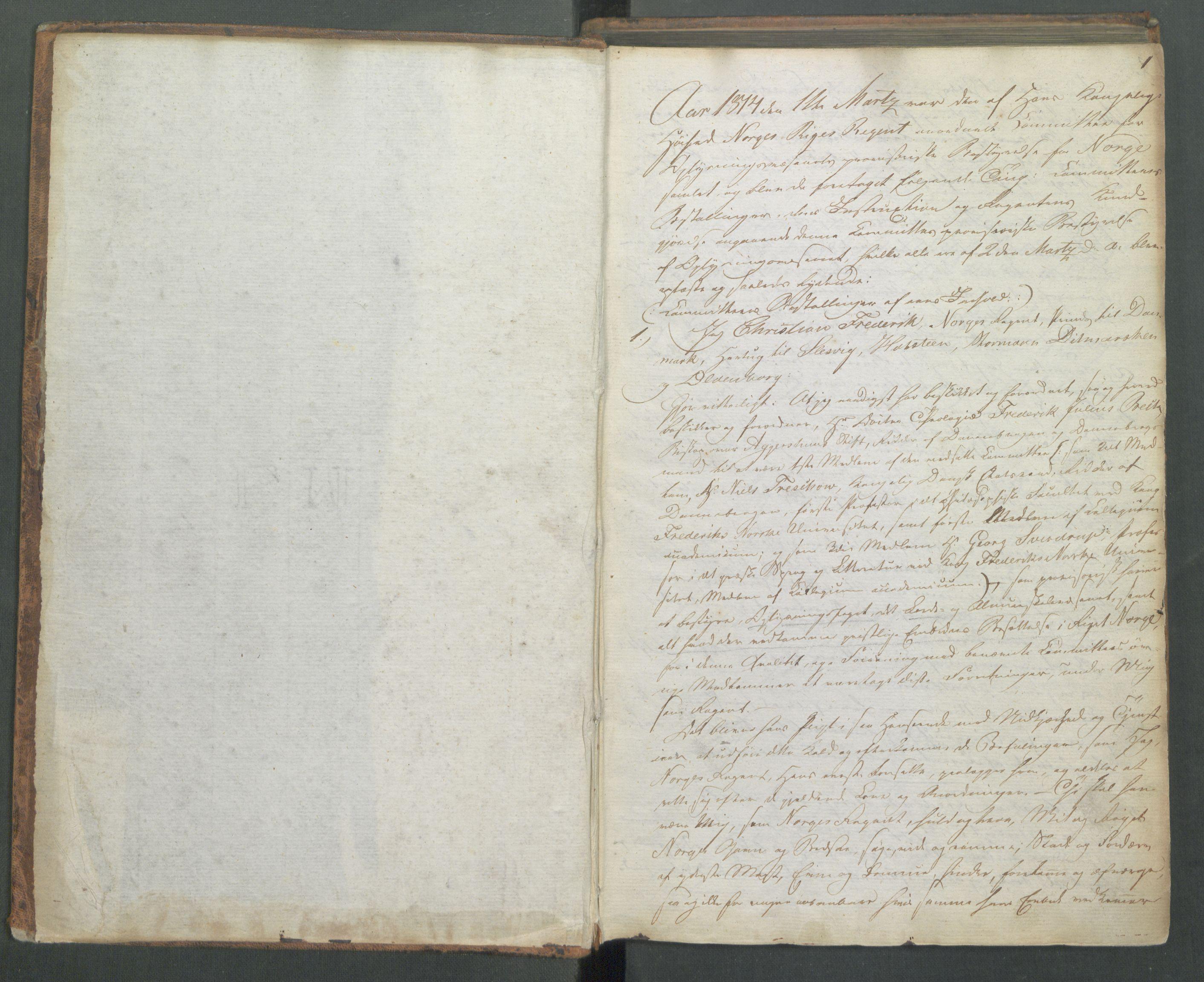 RA, Departementene i 1814, Ff/L0001: Deliberasjonsprotokoll, 1814-1815, s. 1