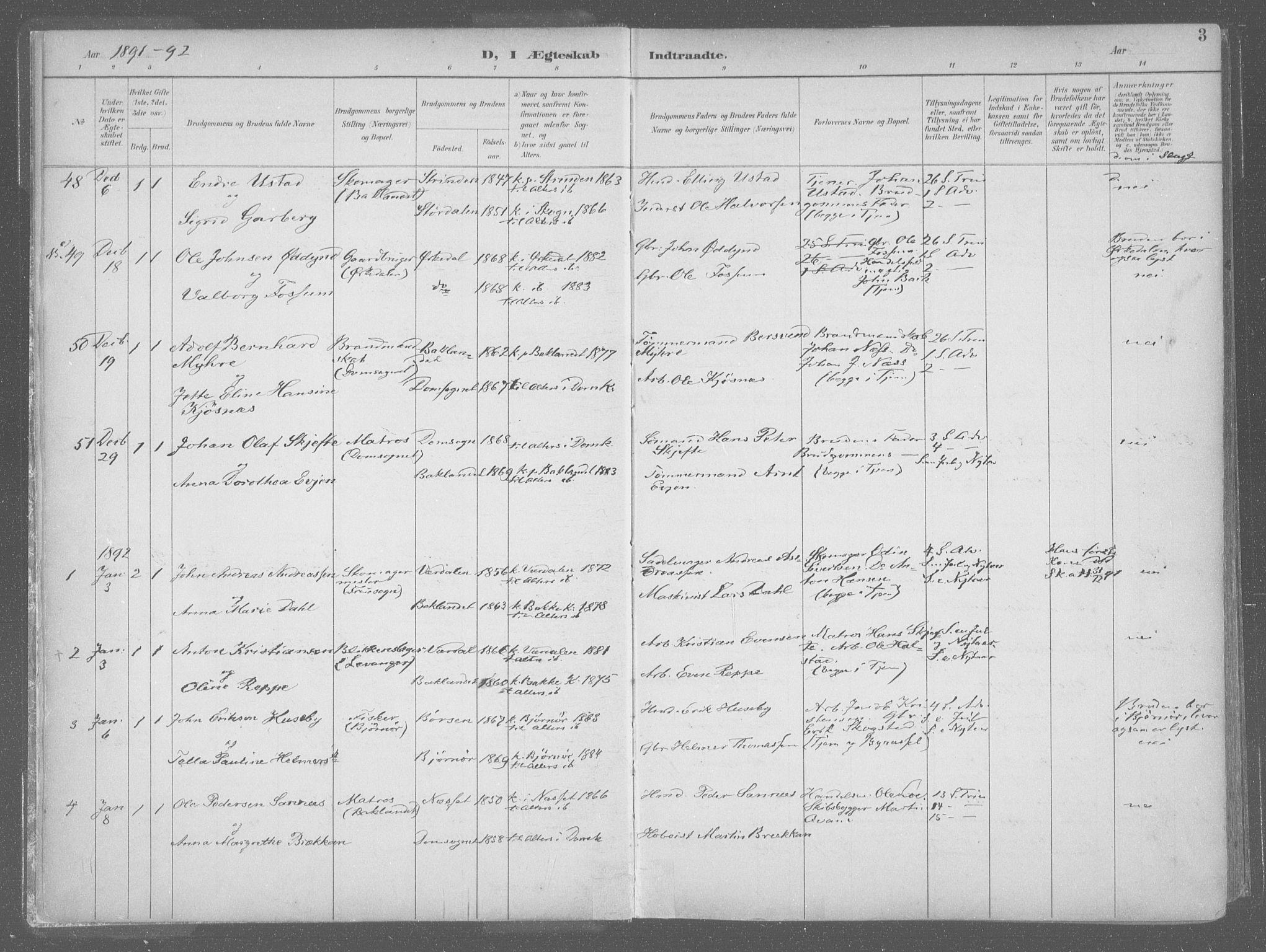 SAT, Ministerialprotokoller, klokkerbøker og fødselsregistre - Sør-Trøndelag, 601/L0064: Ministerialbok nr. 601A31, 1891-1911, s. 3
