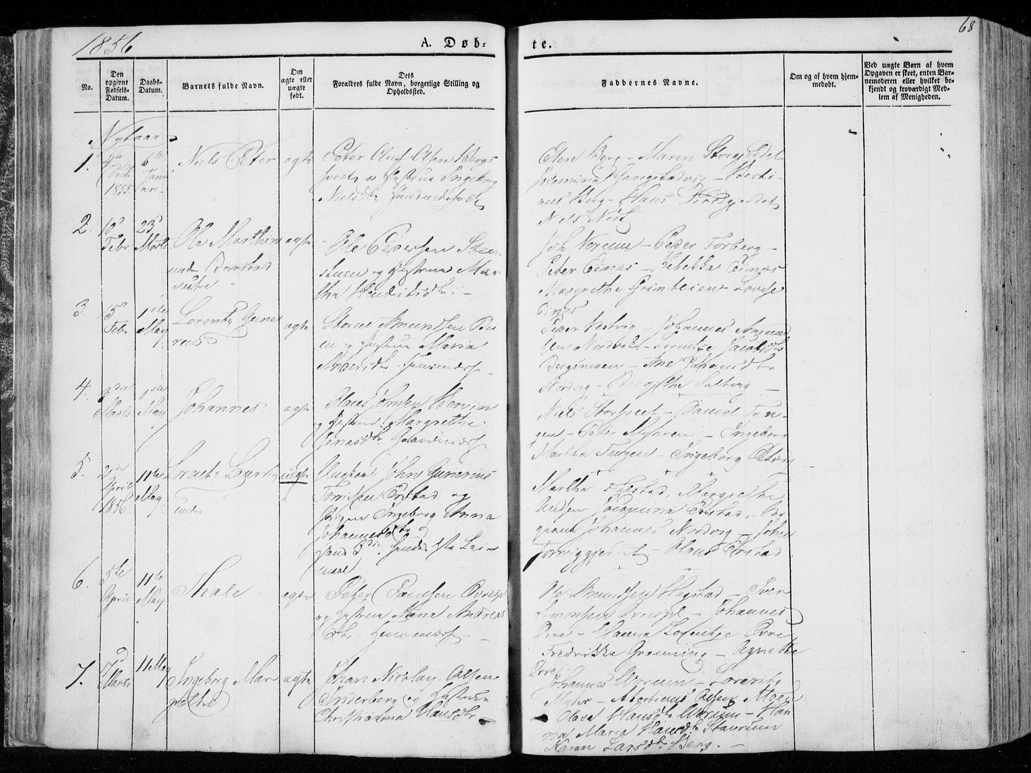 SAT, Ministerialprotokoller, klokkerbøker og fødselsregistre - Nord-Trøndelag, 722/L0218: Ministerialbok nr. 722A05, 1843-1868, s. 68