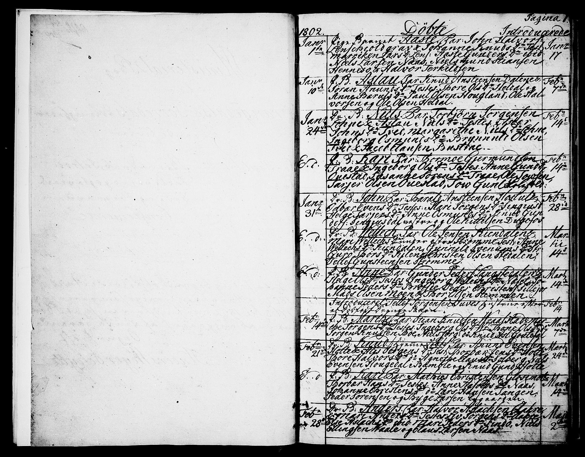 SAKO, Drangedal kirkebøker, F/Fa/L0004: Ministerialbok nr. 4, 1802-1814, s. 0-1