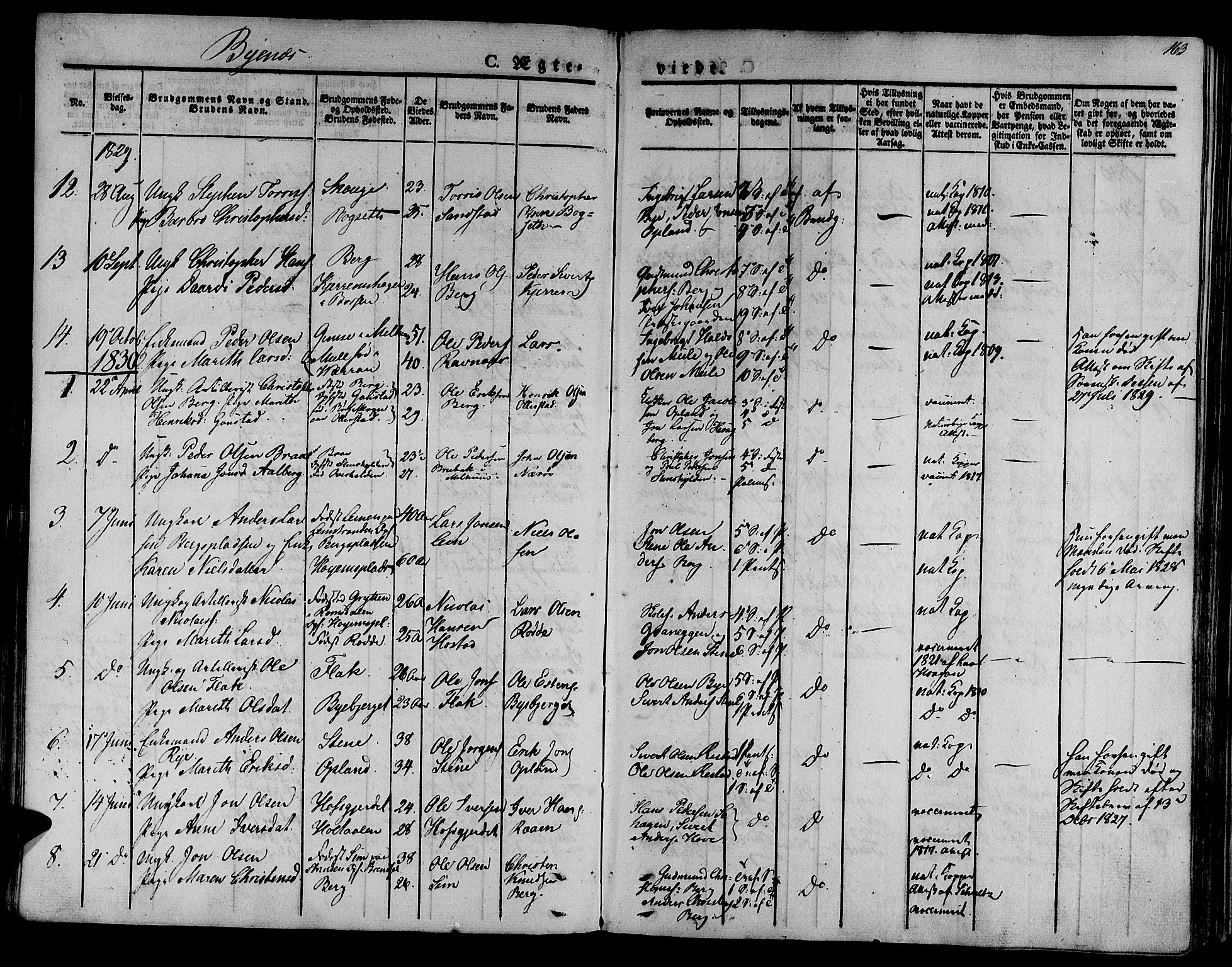 SAT, Ministerialprotokoller, klokkerbøker og fødselsregistre - Sør-Trøndelag, 612/L0374: Ministerialbok nr. 612A07 /1, 1829-1845, s. 163